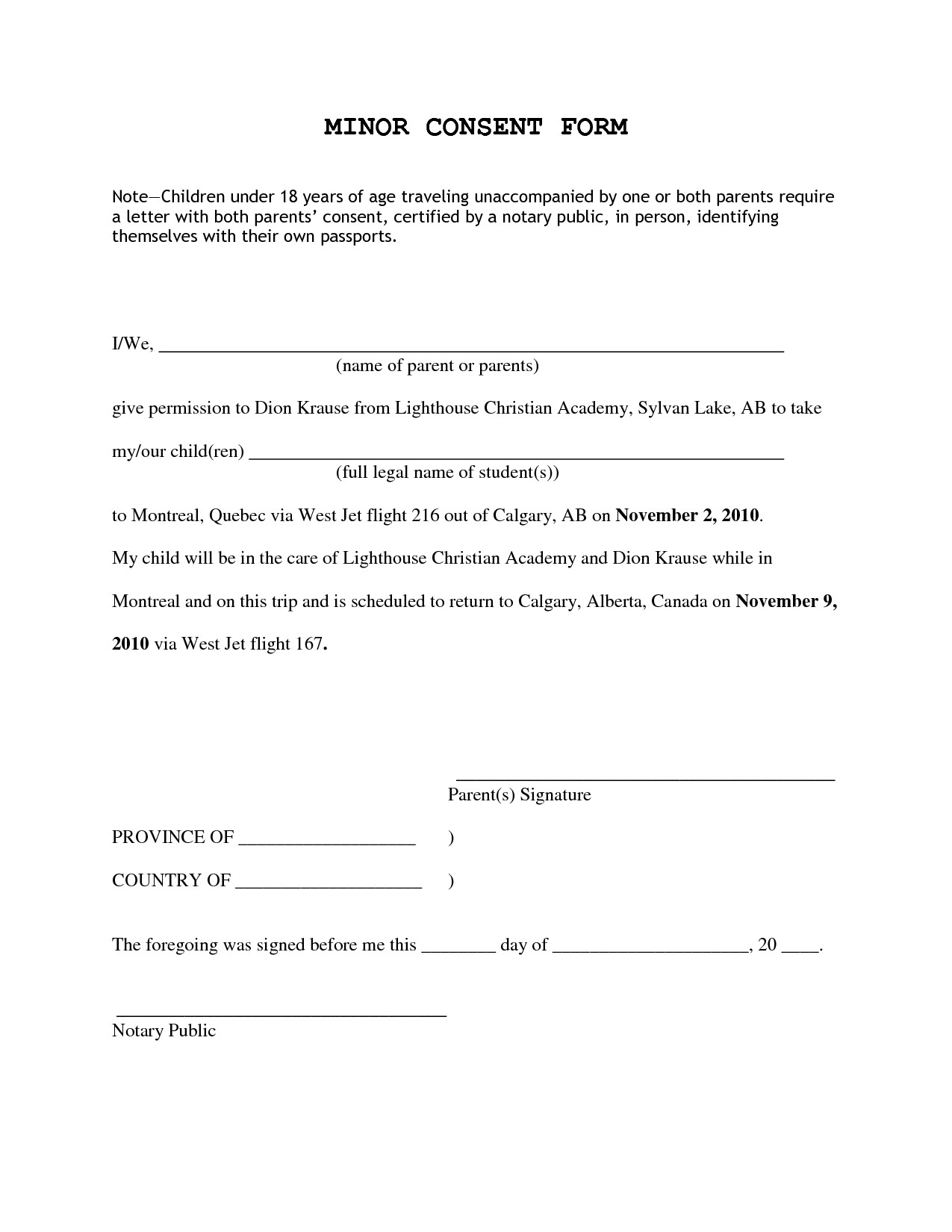 Notarized Travel Consent Letter Template - Sample Permission Letter to Travel Best Notarized Letter