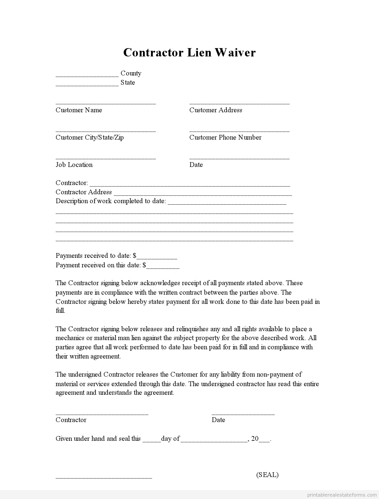 Real Estate Offer Letter Template Free - Sample Printable Contractor Lien Waiver form
