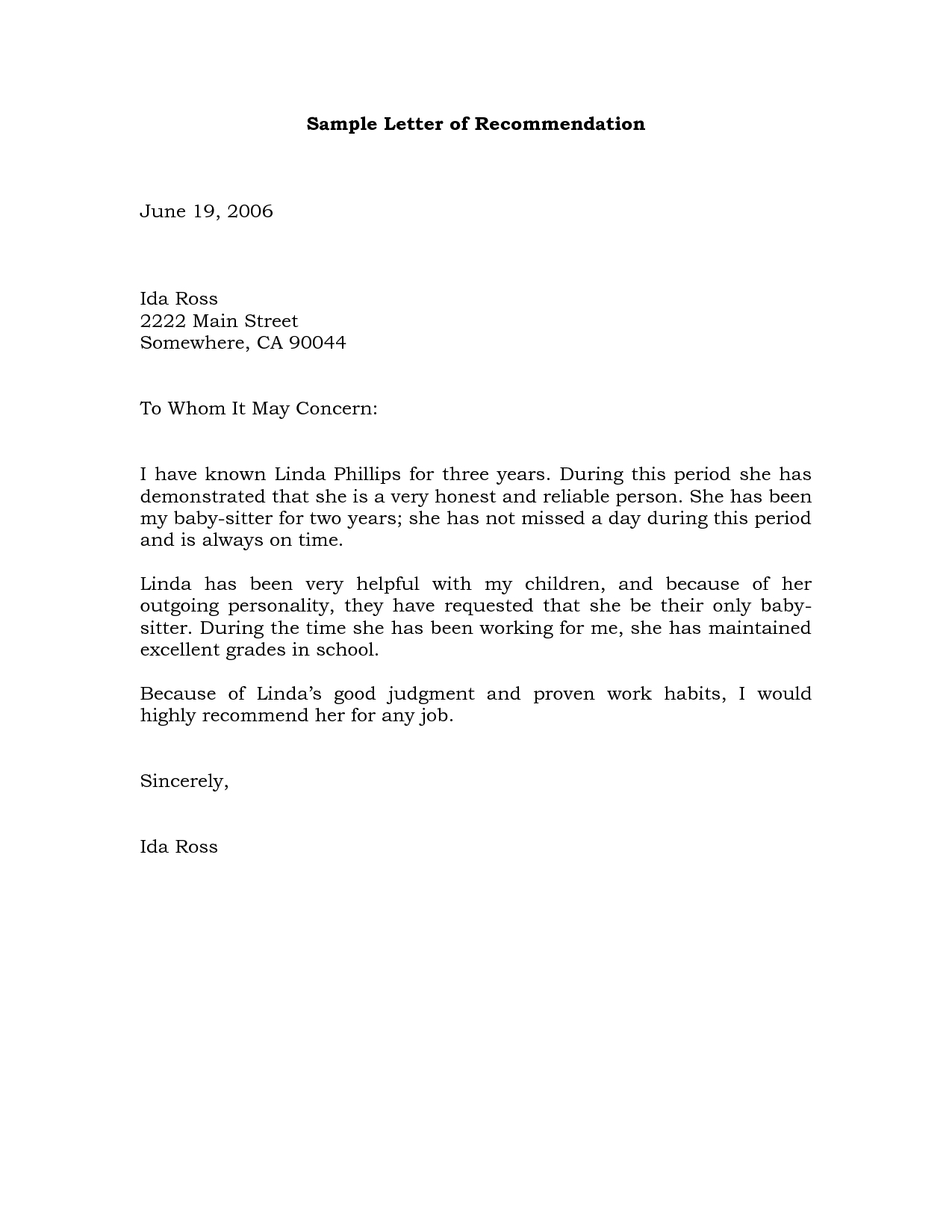 microsoft word letter of recommendation template