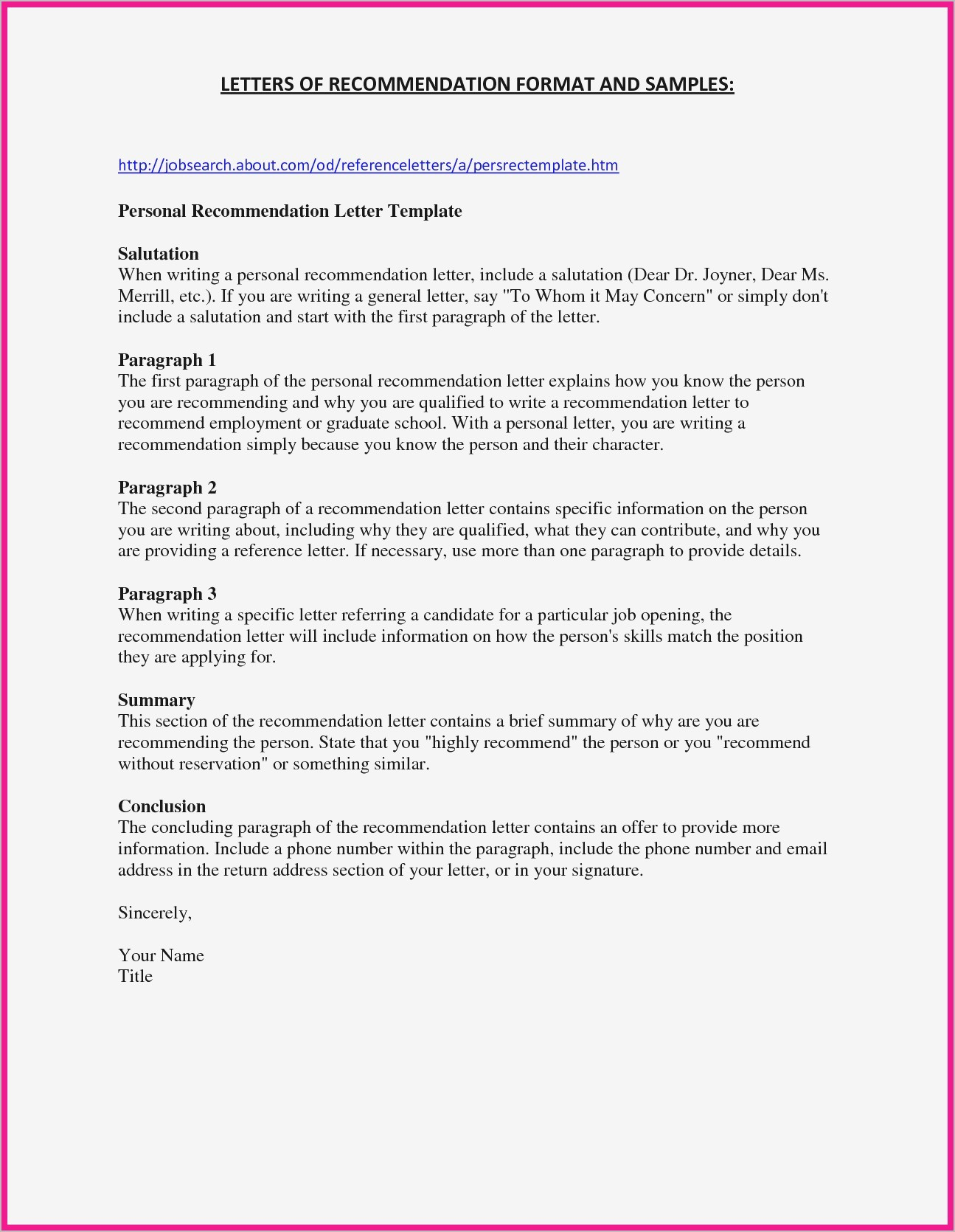 Personal Recommendation Letter Template - Sample Re Mendation Letter for Job Refrence Personal Reference