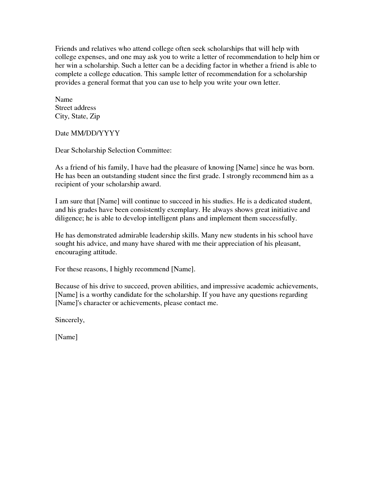 scholarship reference letter template sample reference letter for a friend samples