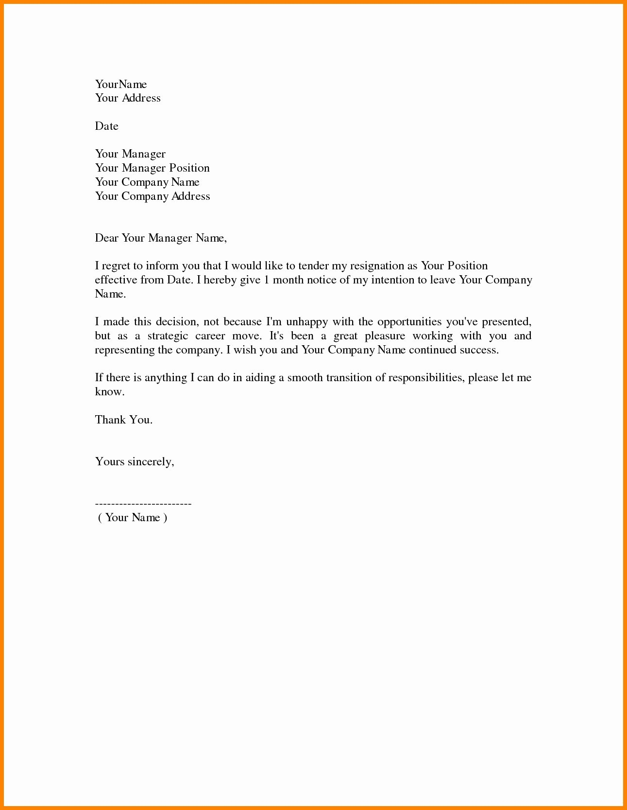 Resignation Letter Template Doc Samples | Letter Cover Templates