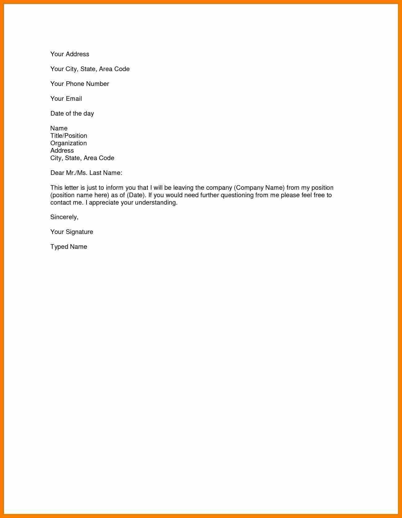 Short Resignation Letter Template - Sample Resignation Letter Template Doc Copy Samples Resignation