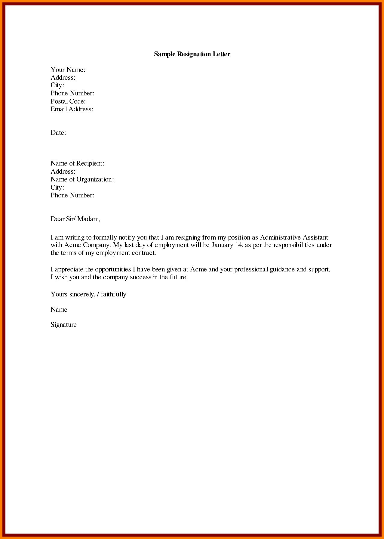 Writing A Resignation Letter Template - Sample Resignation Letter Template Doc Copy Samples Resignation