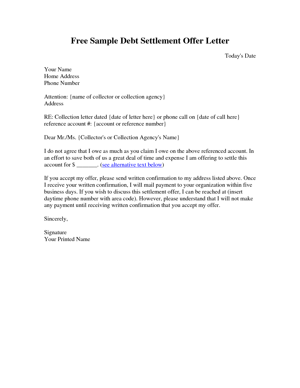 I Owe You Letter Template - Sample Settlement Letter Debt Settlement Letter Sample