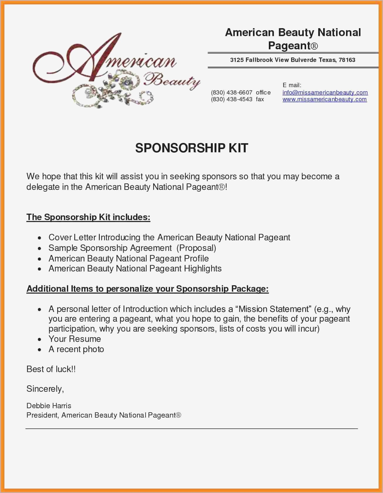 Sponsorship Proposal Letter Template - Sample Sponsorship Proposal Pdf format