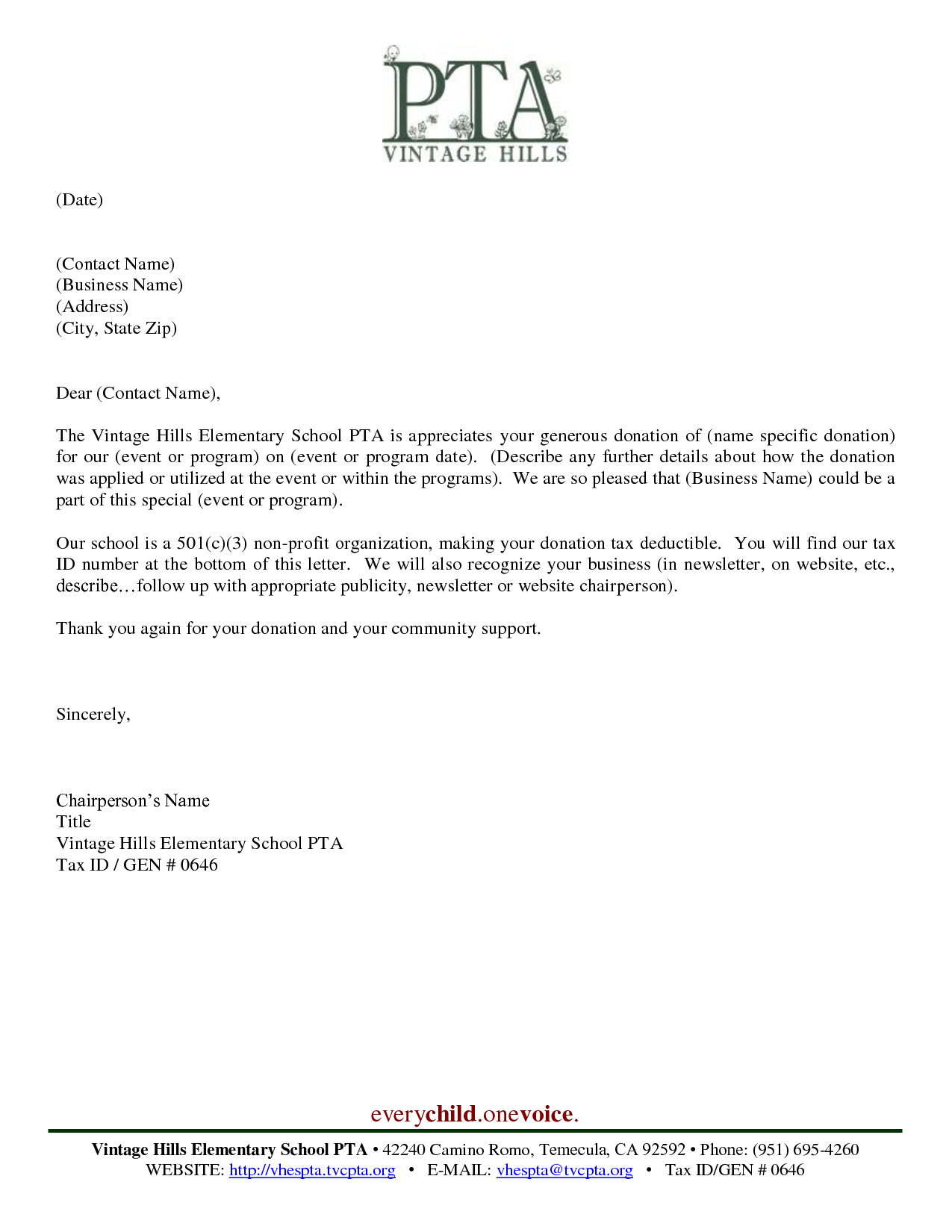 School Sponsorship Letter Template - Sample Thank You Letter for Donation to School Pdf format