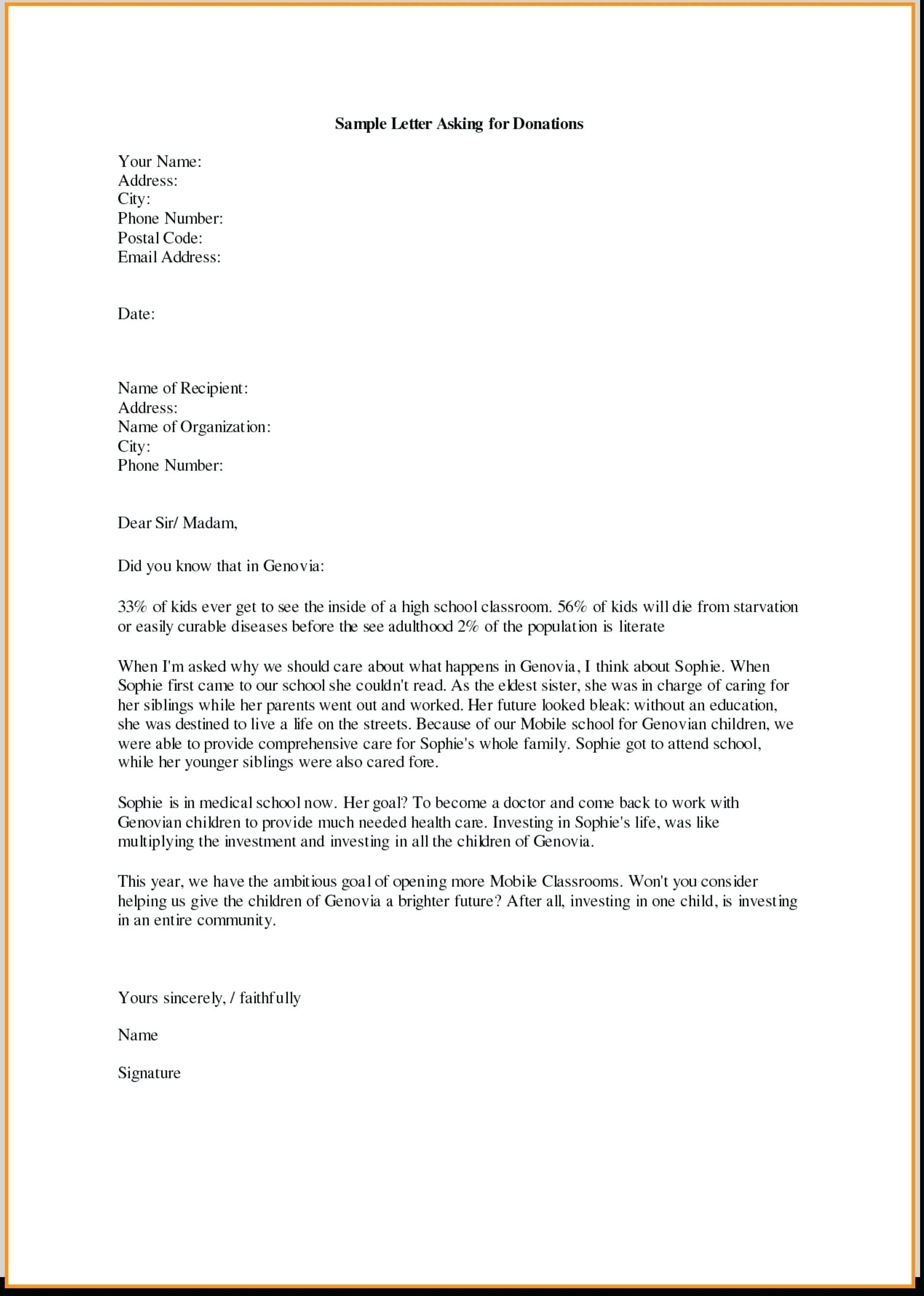 Fundraising Request for Donation Letter Template - Samples Letters Request Donation Best Samples Letters Request