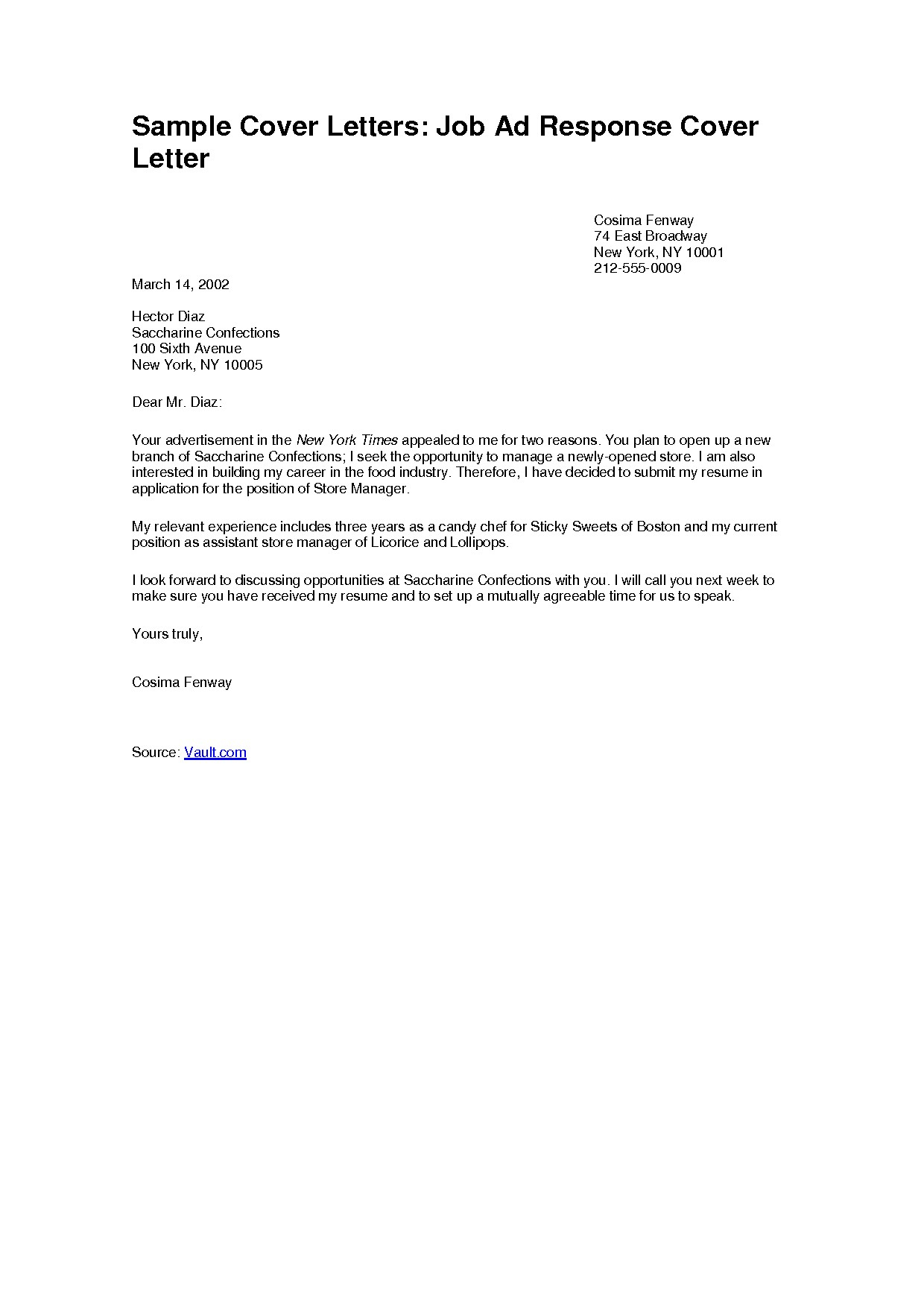 Easy Cover Letter Template Free
