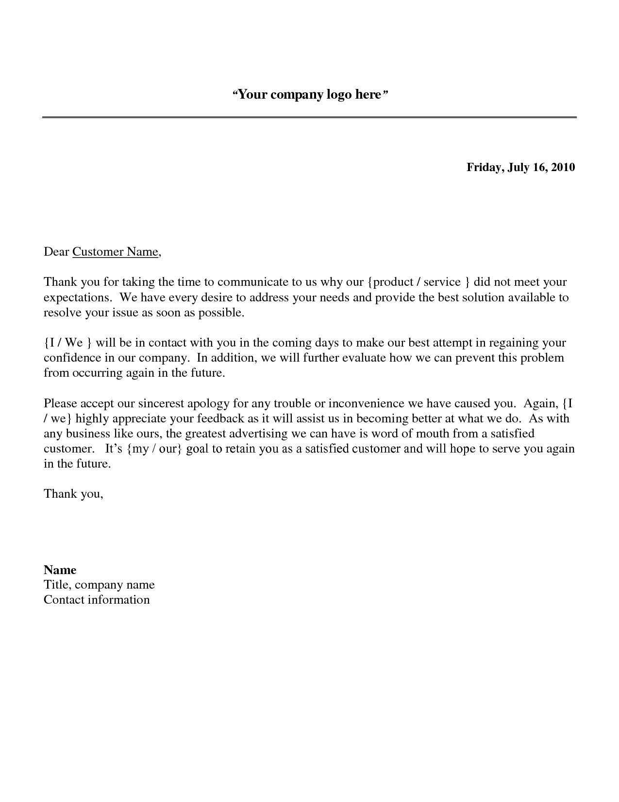 Cover Letter Template Word Customer Service
