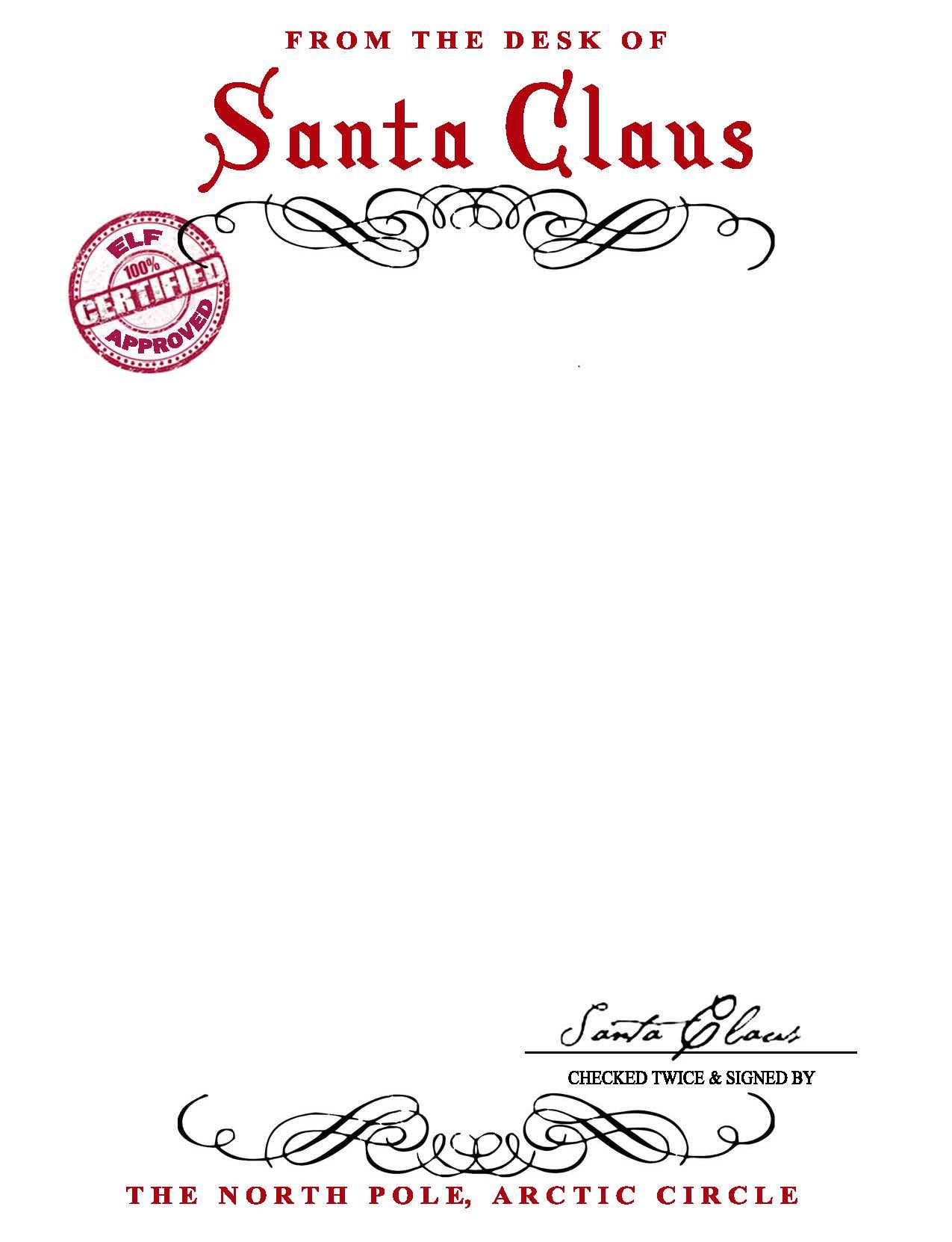 Free Printable Letter From Santa Template - Santa Claus Letterhead Will Bring Lots Of Joy to Children