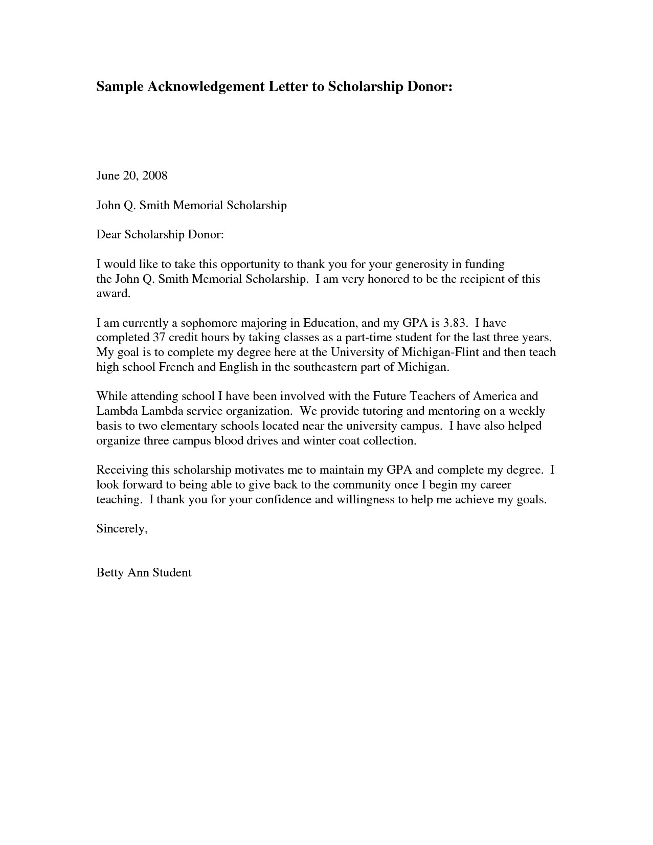 Scholarship Thank You Letter Template - Scholarship Thank You Letter Sample Http Jobsearch About Od