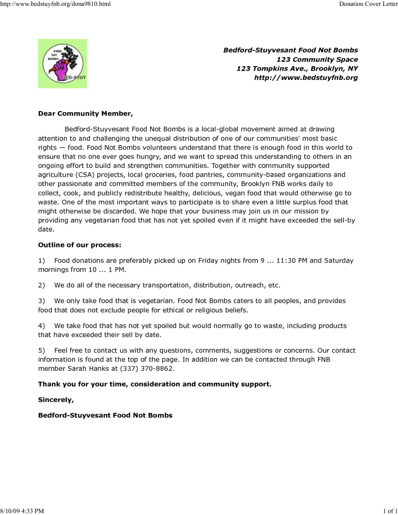 Food Donation Letter Template - School Food Drive Letter Sample