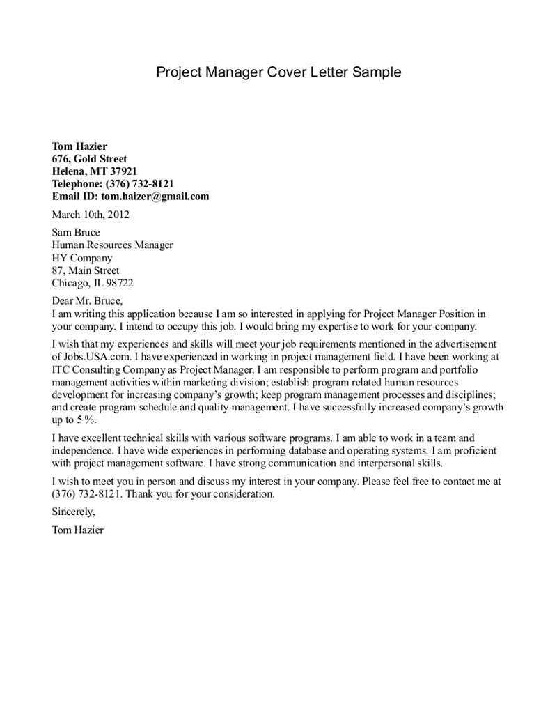 Property Management Cover Letter Template