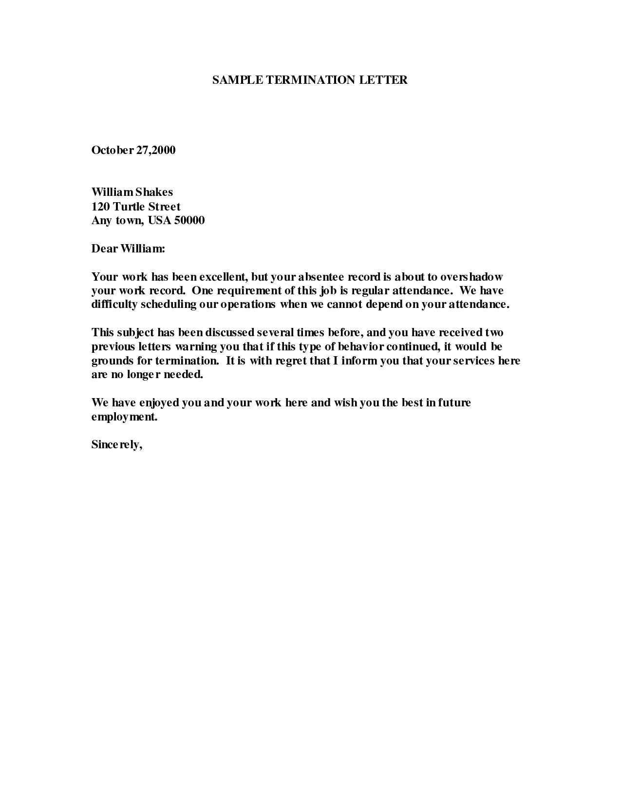 termination of employment letter template collection letter cover