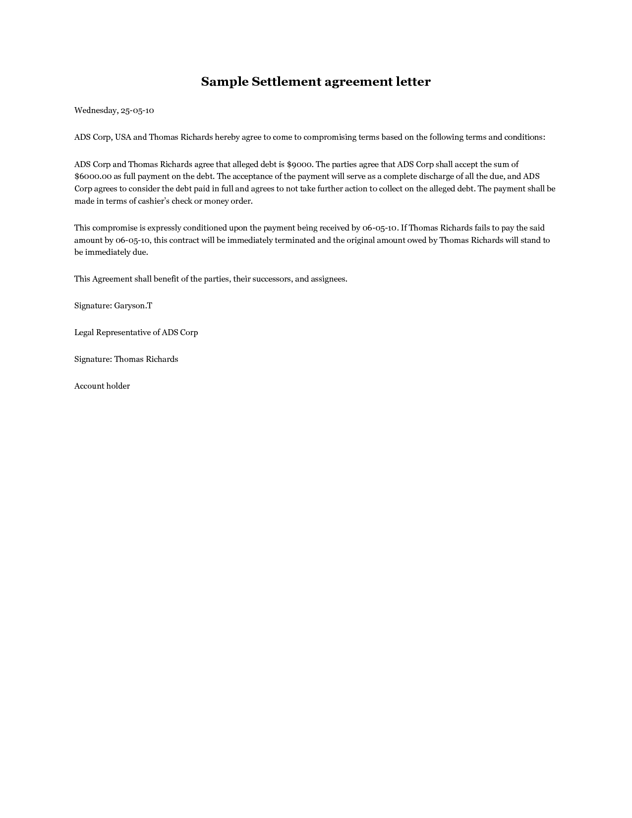 Debt settlement agreement letter template samples letter for Debt negotiation letter template