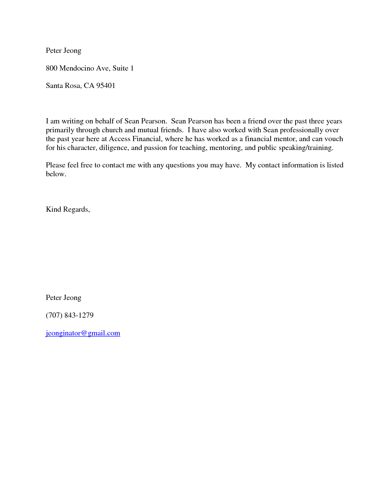 Letter Of Recommendation Template Pdf - Short Character Reference Letter Choice Image Letter format formal