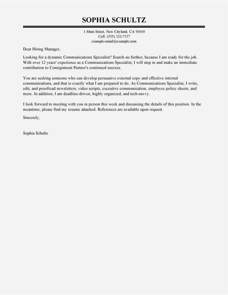 Consignment Letter Template - Simple Cover Letter Sample Gallery Research Specialist Cover Letter