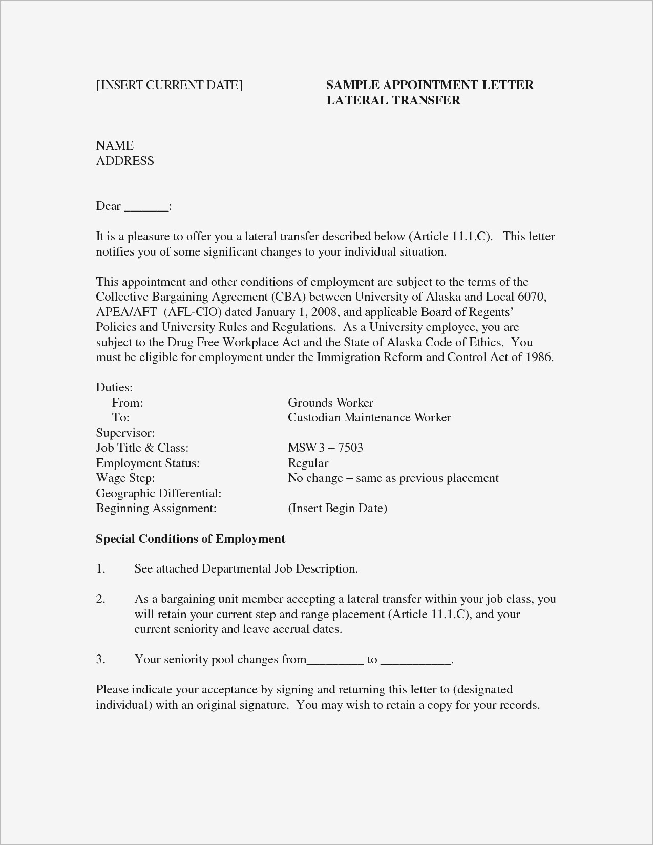 opt job offer letter template