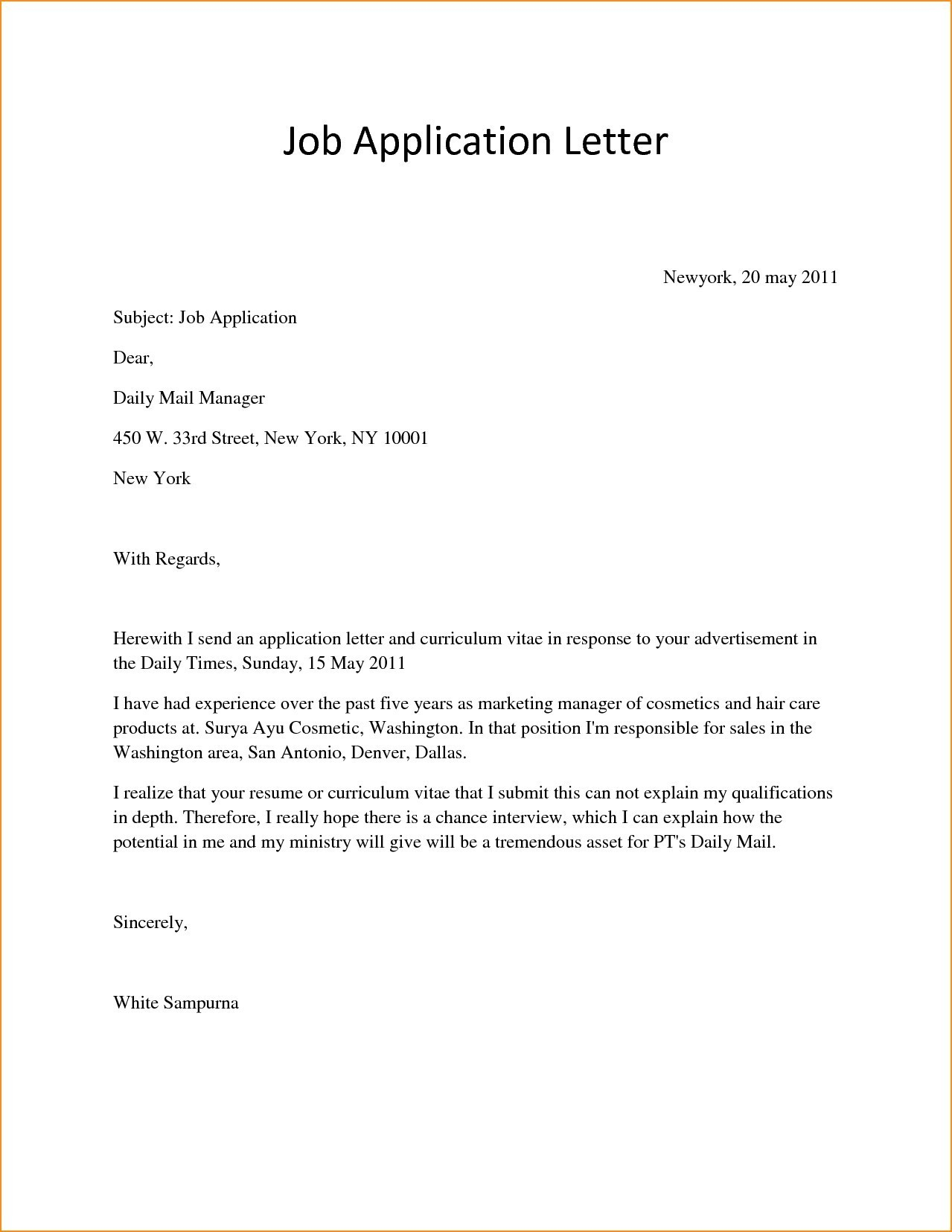 Opt Job Offer Letter Template - Simple Job Cover Letter Examples Inspirationa Letter Examples Job