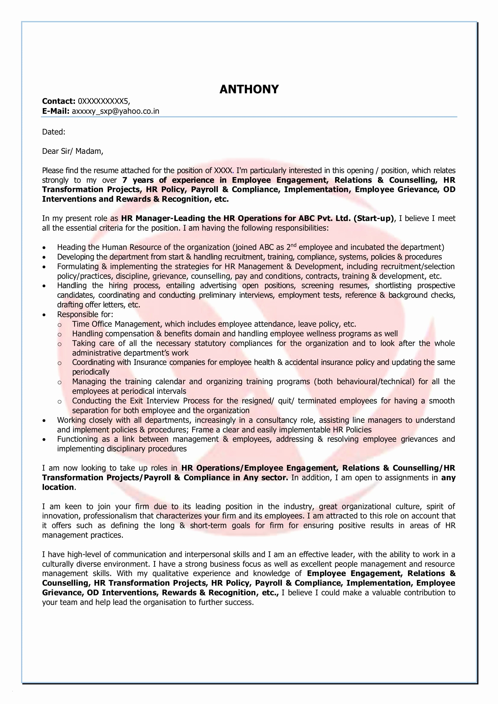 Letter Of Interest for Employment Template - Simple Resume Cover Letter format Legalsocialmobilitypartnership