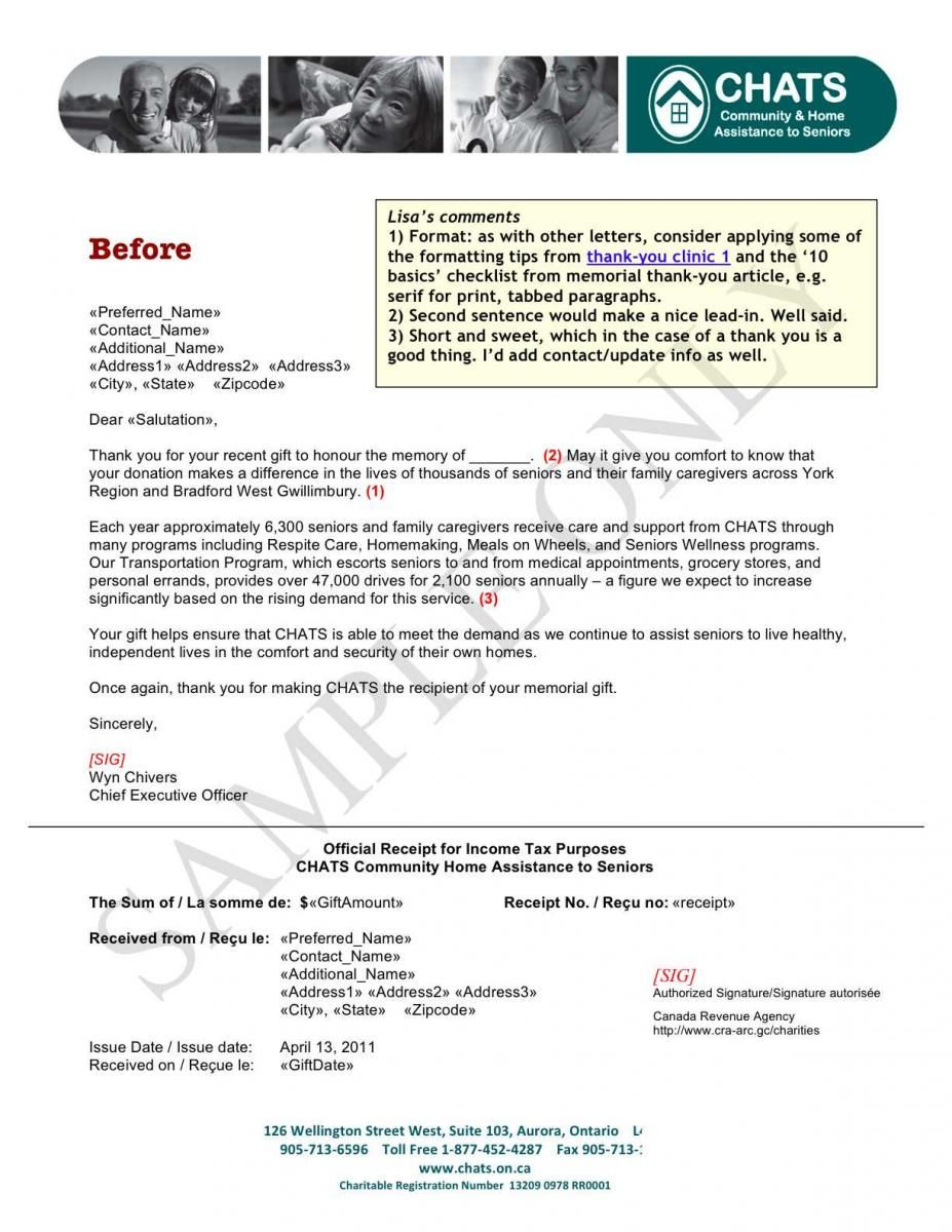 Tax Deductible Donation Thank You Letter Template - sofii · In Memoriam Donation Thank You Letter Samples