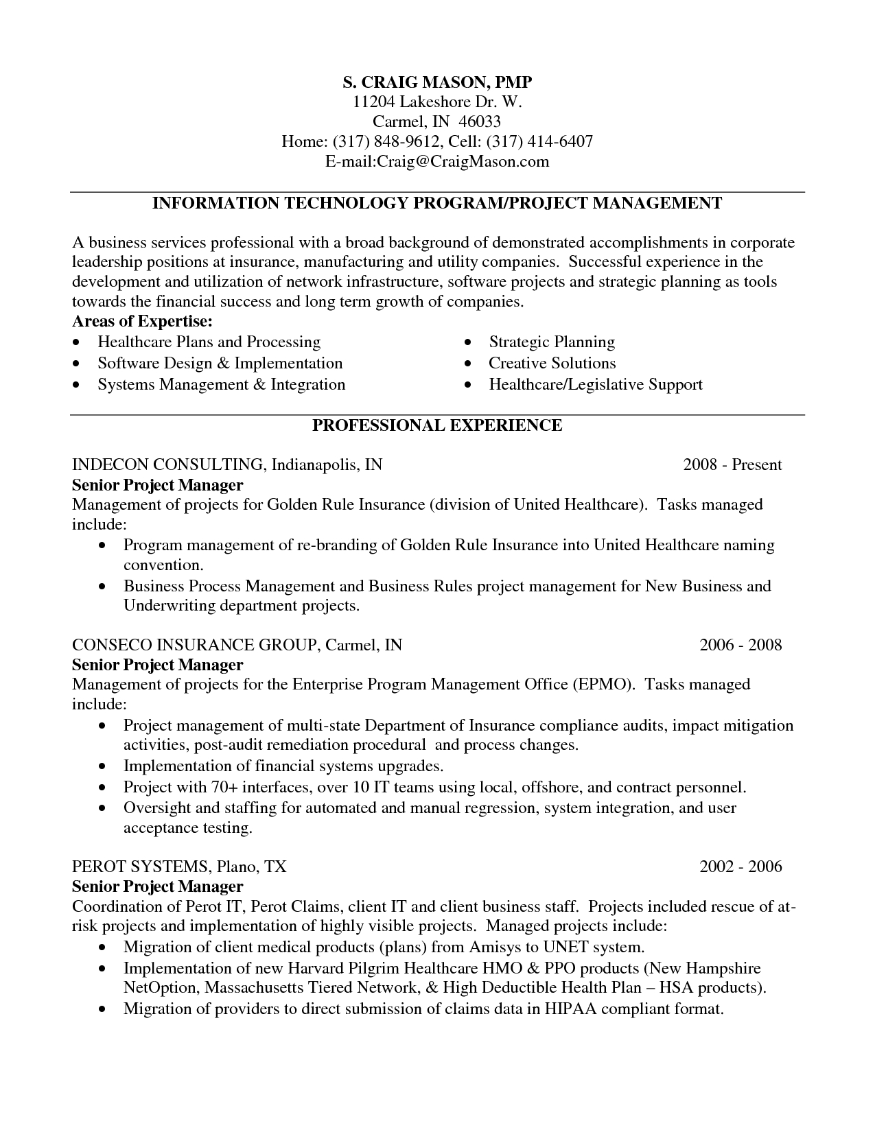 Cover Letter Template Healthcare - software Project Manager Resume software Project Manager Resume Mark
