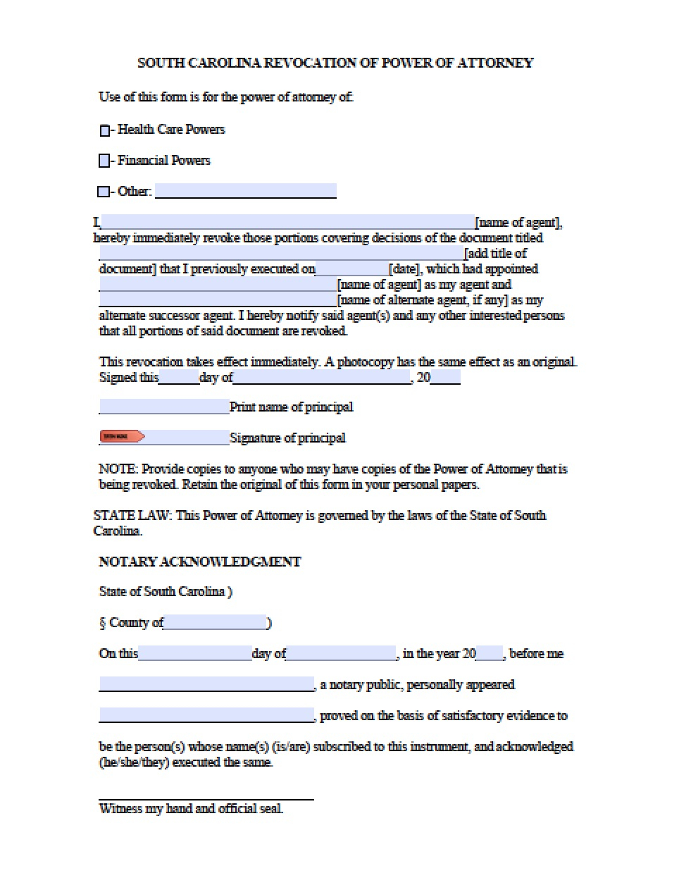 Free Guardianship Letter Template - south Carolina Minor Child Power Of attorney form Power Of