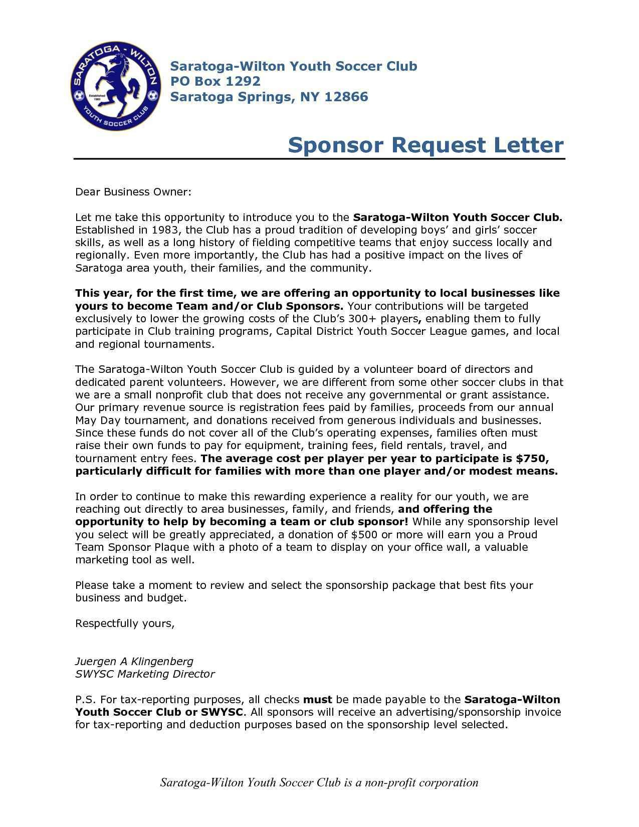 Donation Letter Template for Sports - Sponsorship Letter for Sports Inspirationa Sample Letter asking for