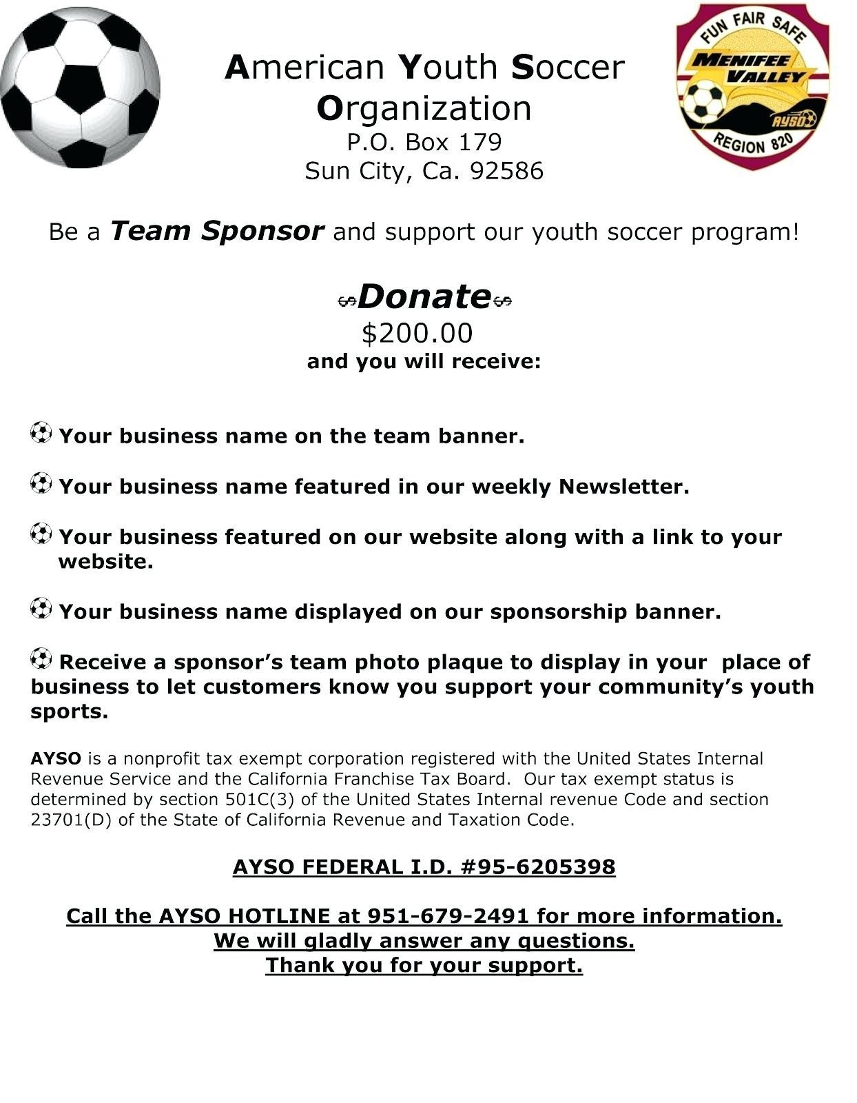 Youth Football Sponsorship Letter Template - Sponsorship Letter Template for Sports Team