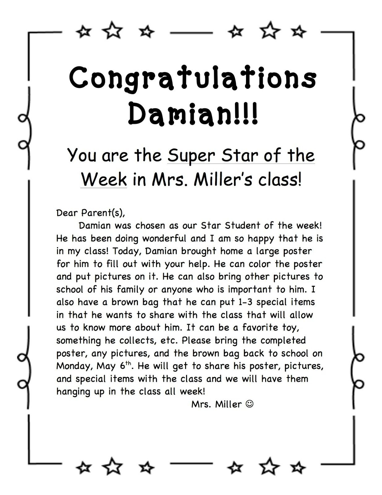Star Student Certificate Clip Art Wording Star Student Of The Week