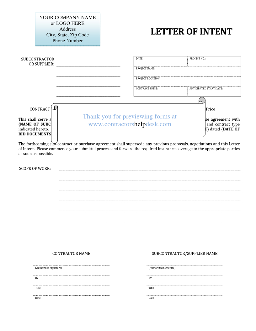 Subcontractor Letter Of Intent Template - Subcontractorter Intent Template the Bravo Mechanics Lien
