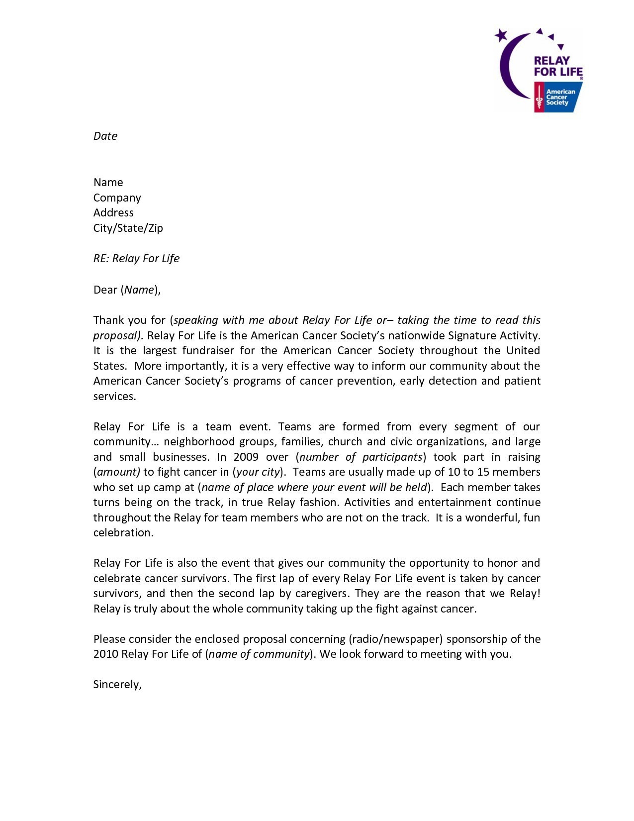 Relay For Life Donation Letter Template Examples Letter Cover