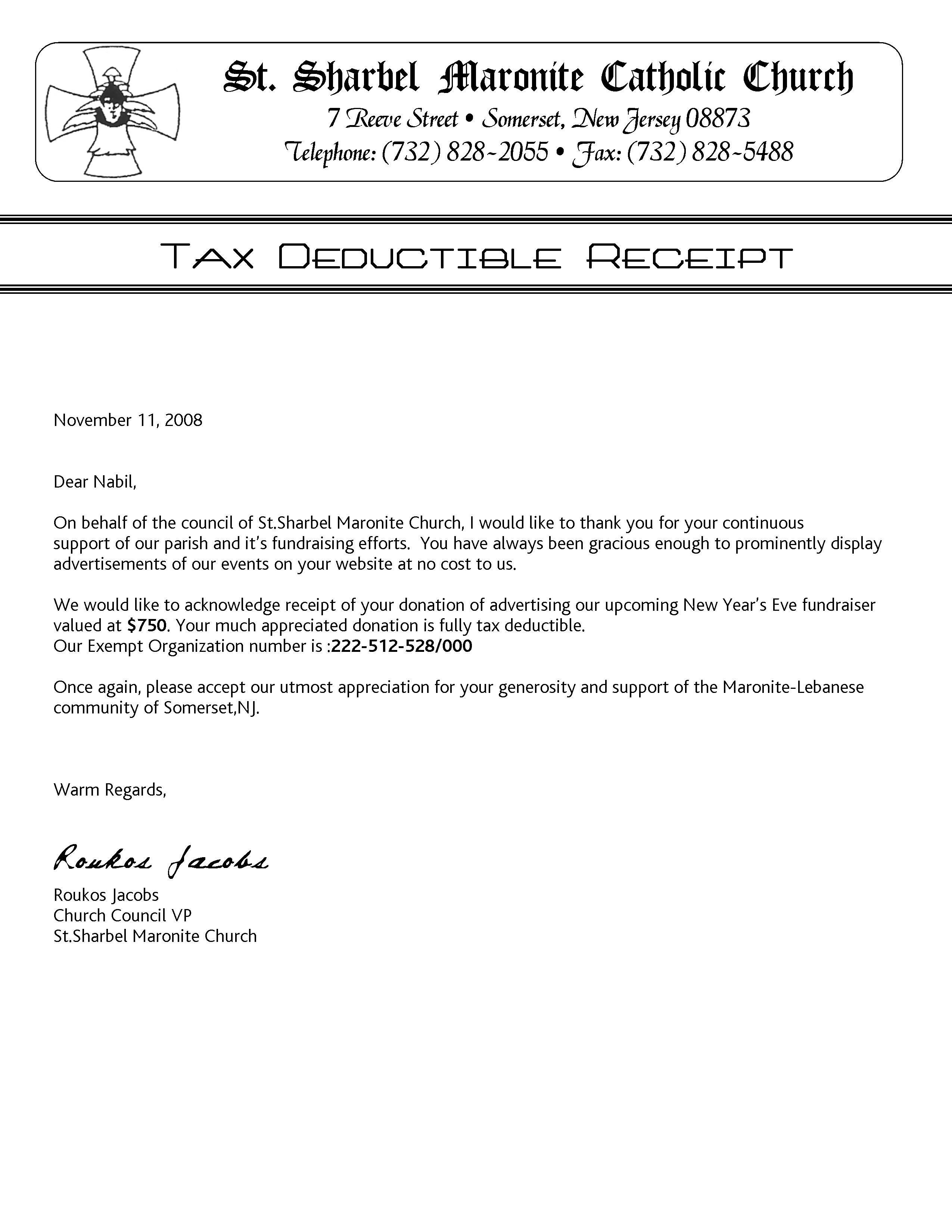 tax deductible donation thank you letter template examples letter