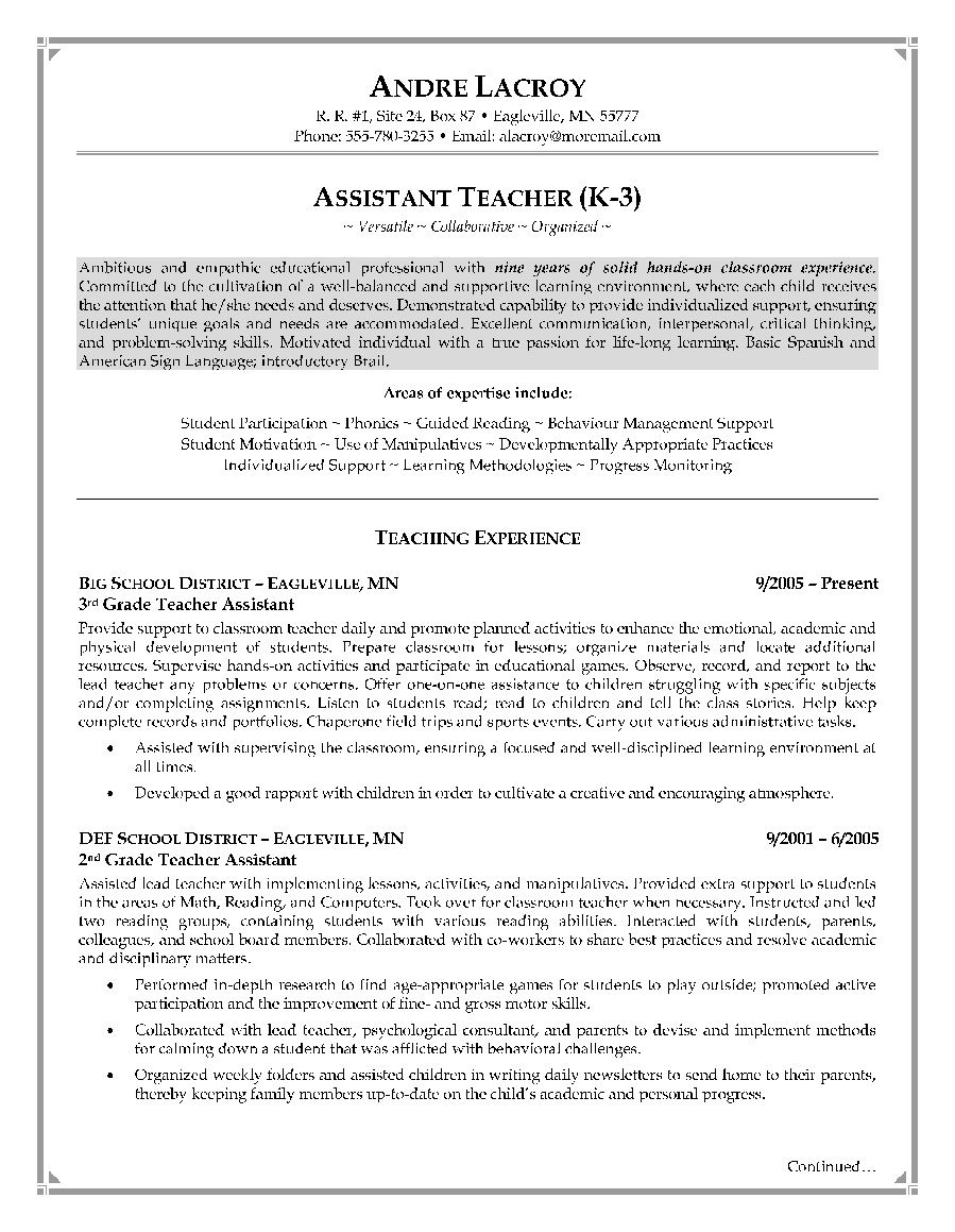 Cover Letter Template for Teaching assistant - Teacher assistant Resume Sample