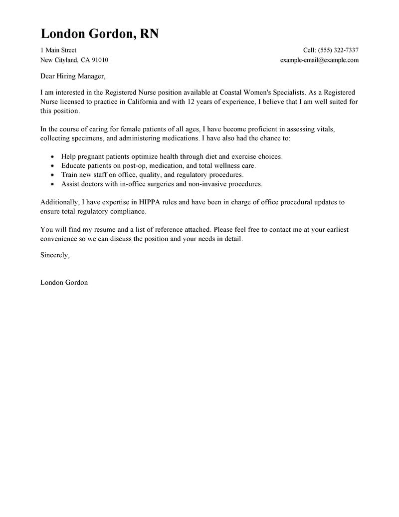 Draft Cover Letter Template