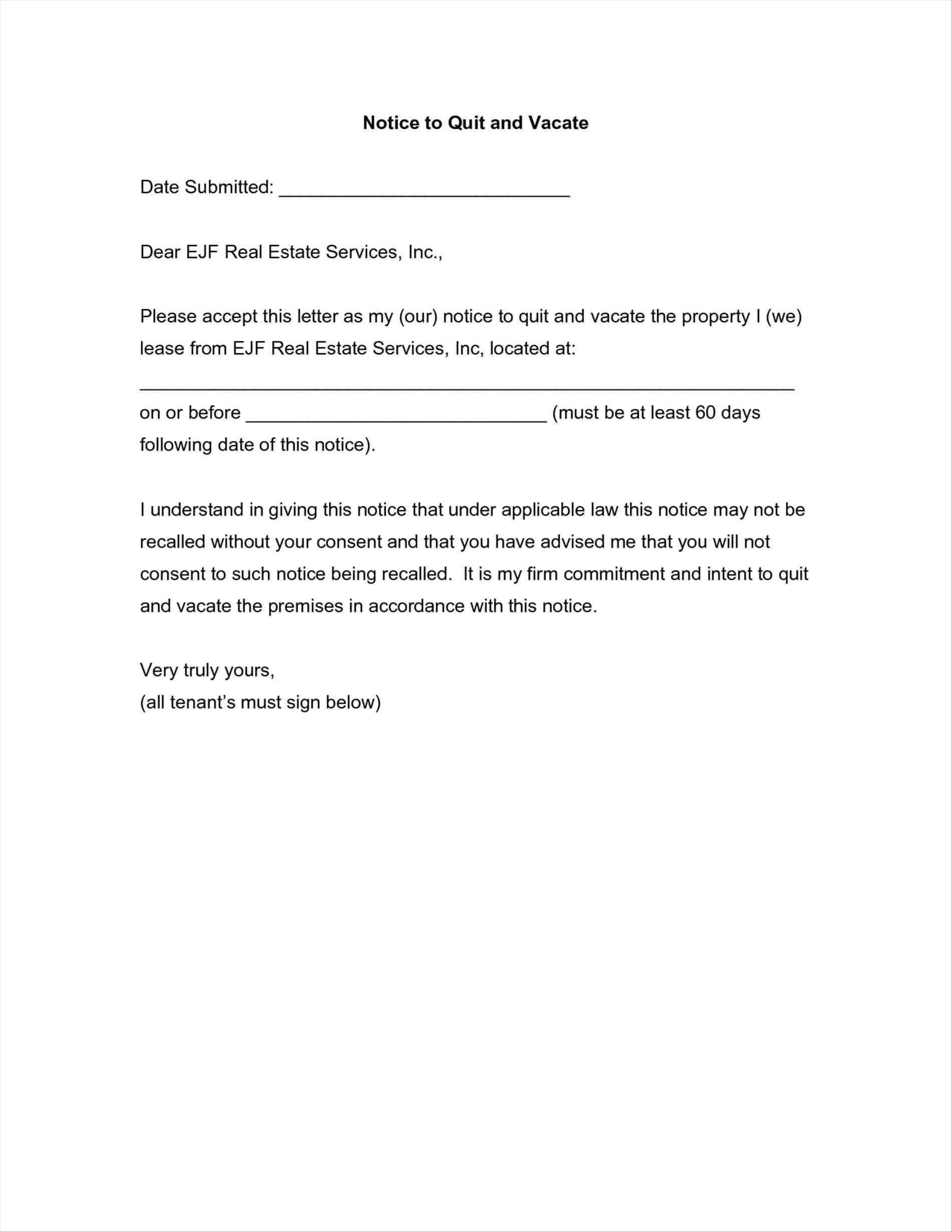 Tenancy Notice Letter Template - Template for 60 Day Notice to Vacate