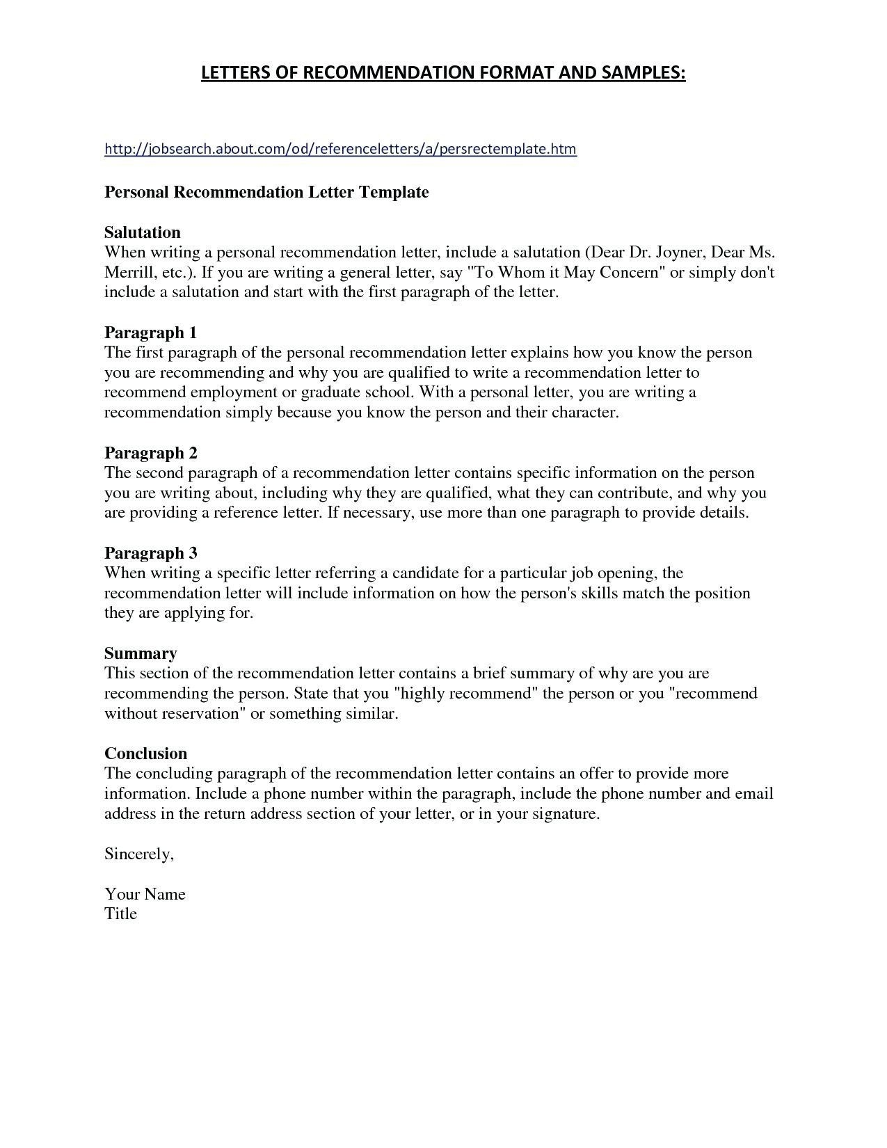 general letter of recommendation template template for letter re mendation for a job new sample