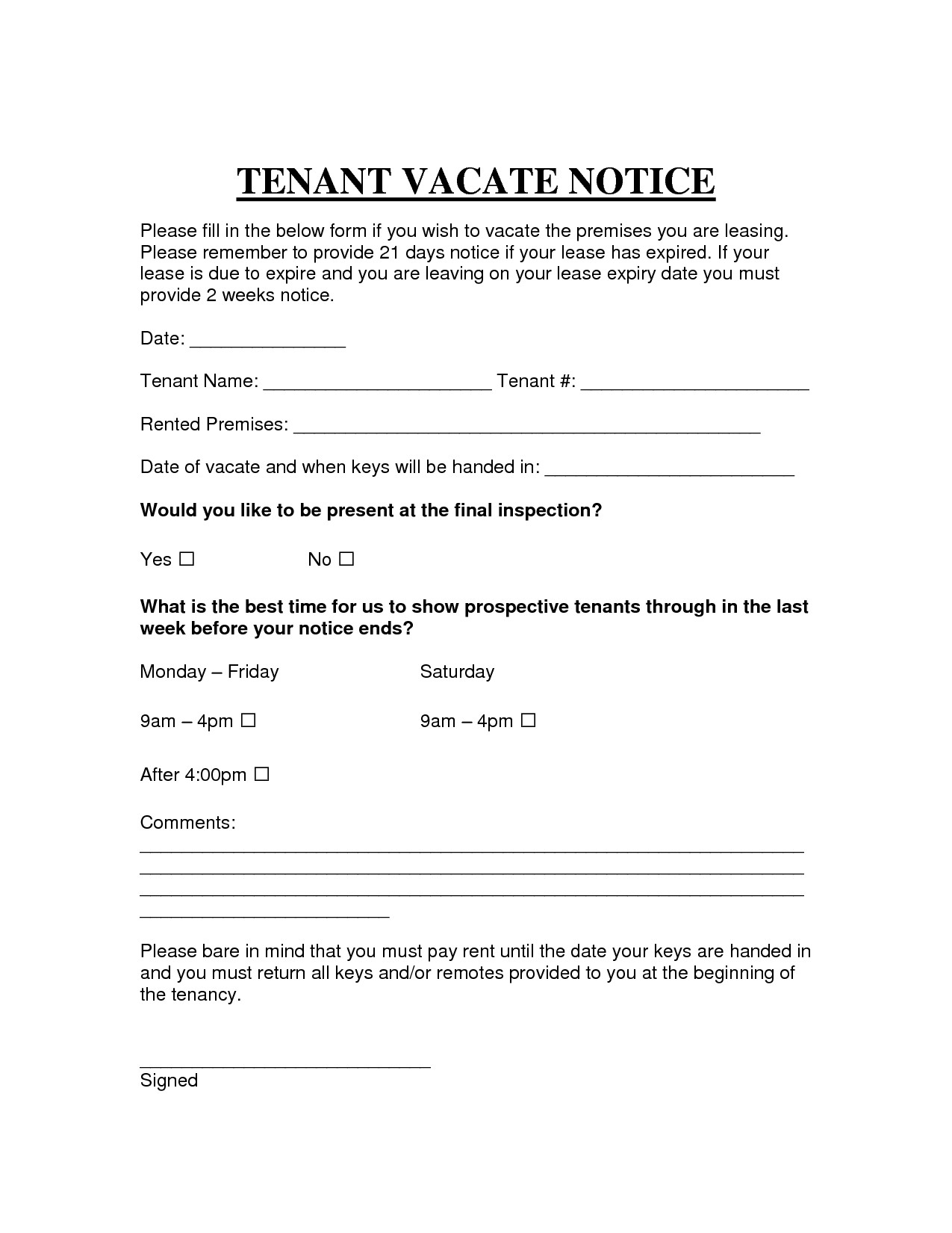 Landlord Notice Letter to Tenant Template - Template Letter to Leave Property New Printable Sample Vacate Notice