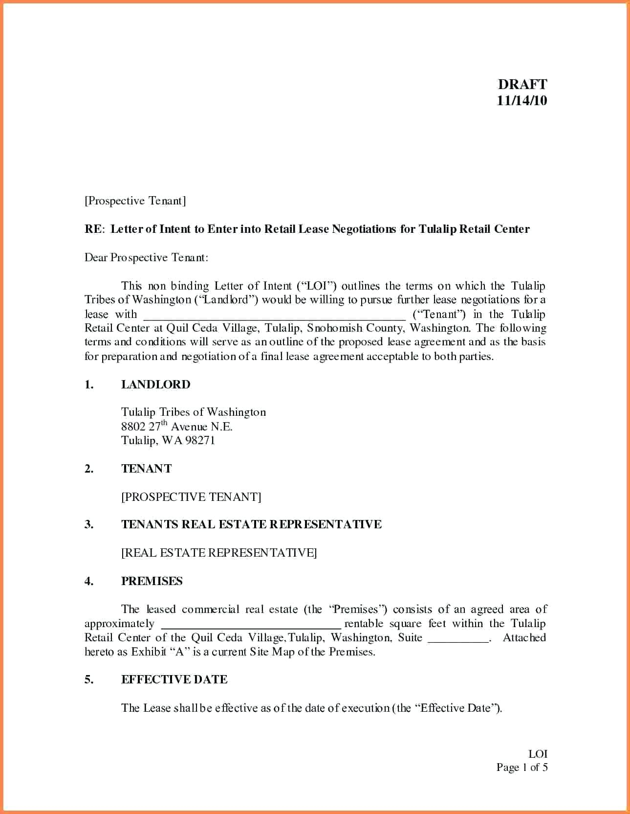 Letter Of Intent to Lease Commercial Property Template - Templatemercial Real Estate Letter Intent to Lease Sample