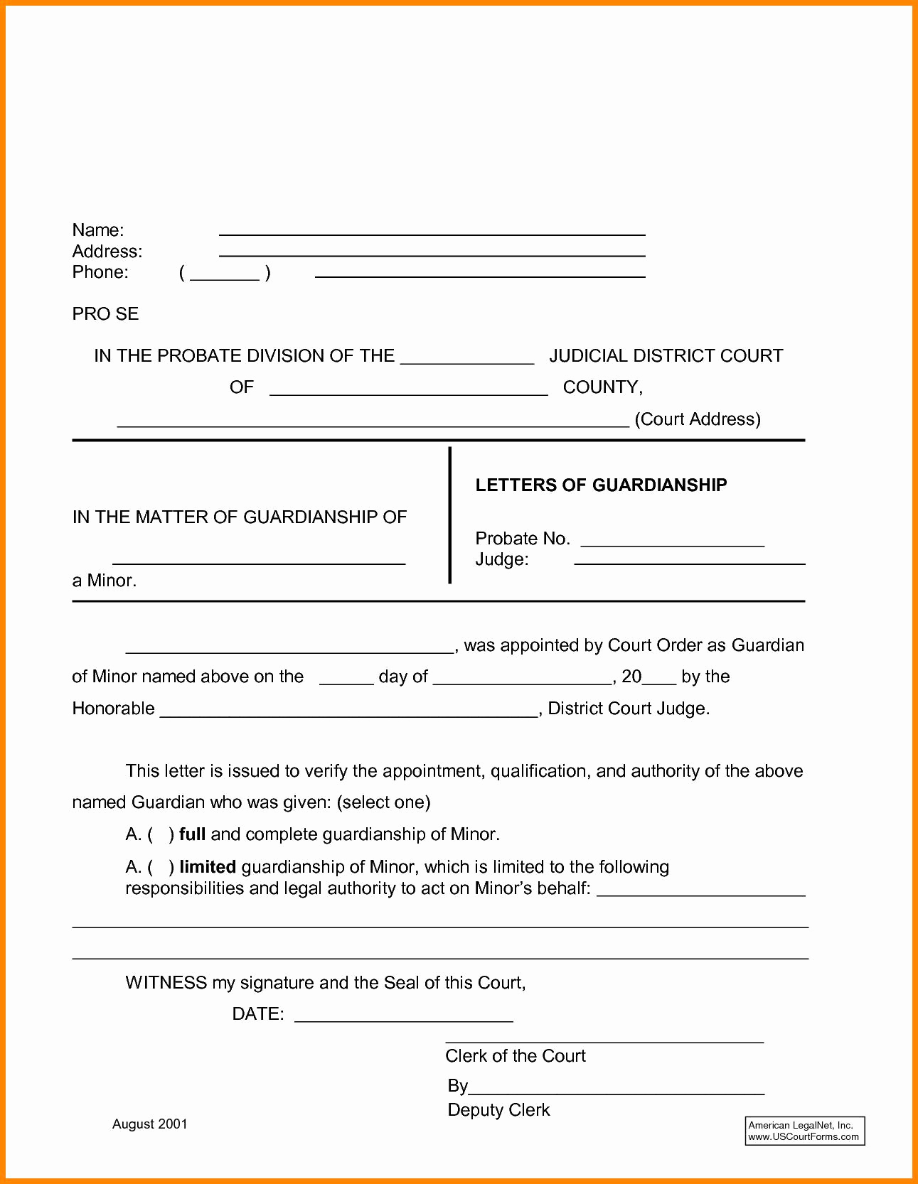 Permanent Guardianship Letter Template - Temporary Guardianship Agreement form Temporary Custody Letter