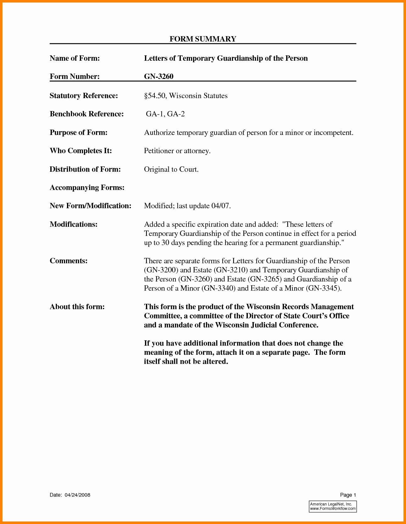 Free Temporary Guardianship Letter Template - Temporary Guardianship form for Grandparents Beautiful Temporary