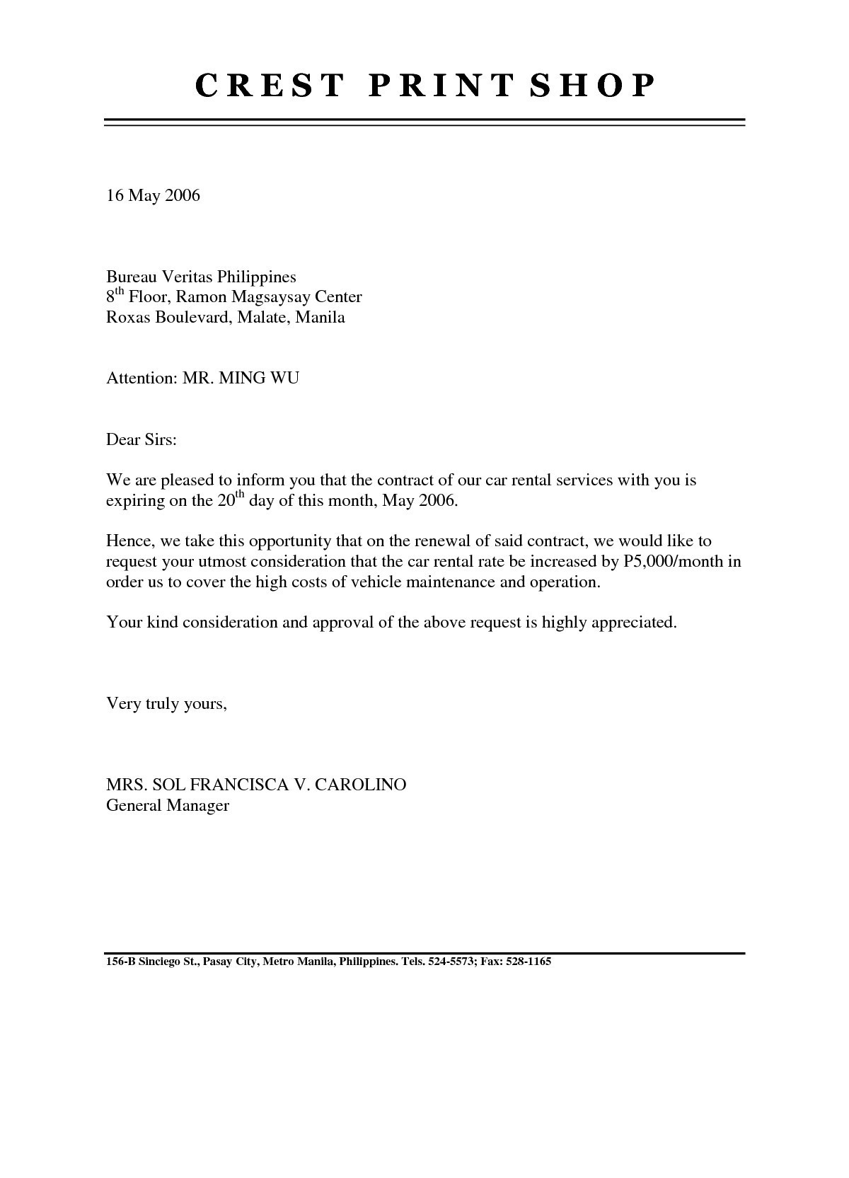 Rental Agreement Letter Template - Tenancy Agreement Renewal Template