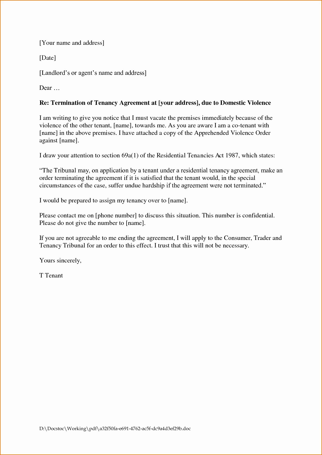 early lease termination letter to landlord template tenancy resignation letter letter format formal sample