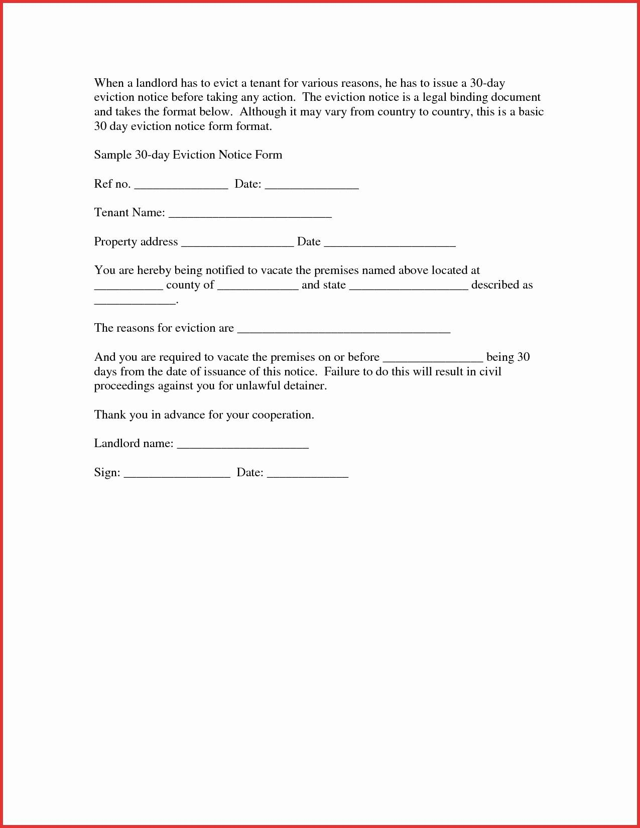 30 Day Notice to Vacate Letter to Tenant Template - Tenant Eviction Letter Template Best Free Eviction Notice