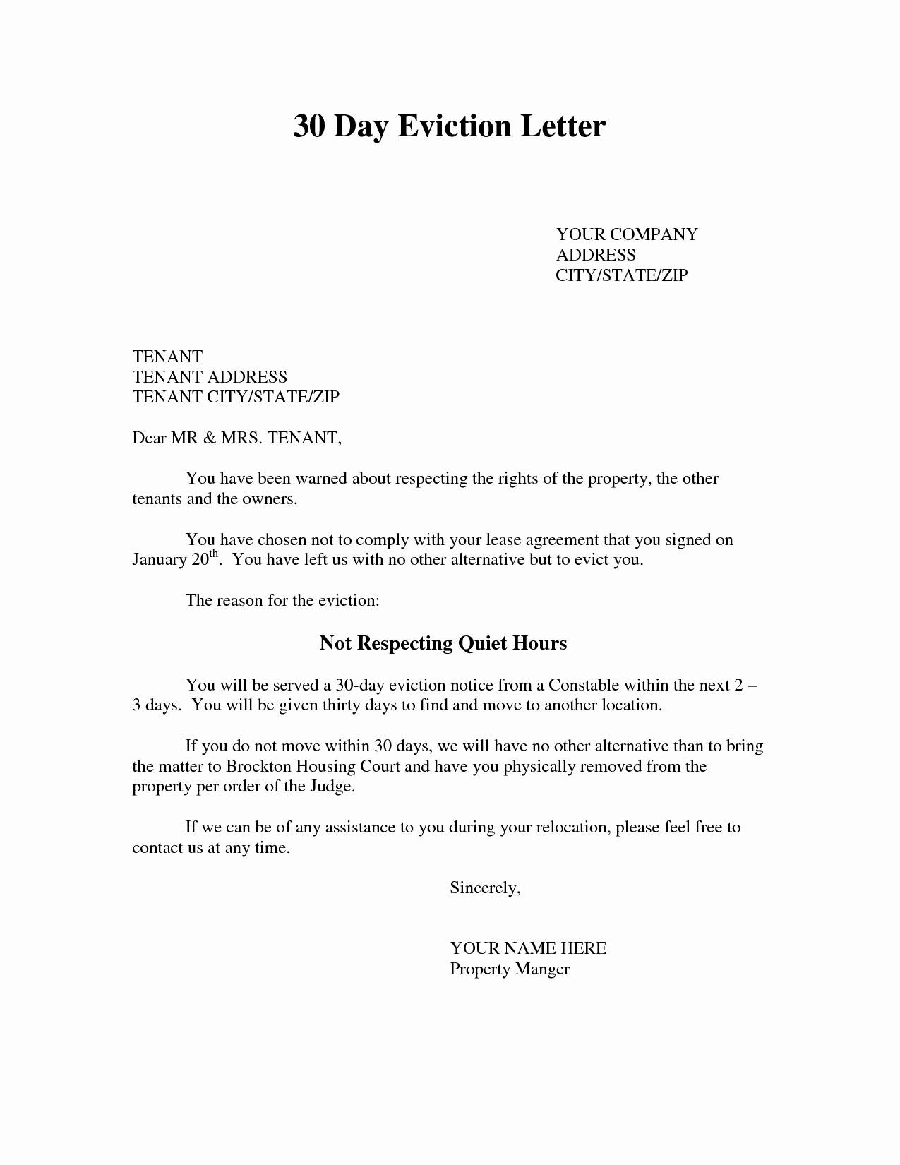 Eviction Letter Template Free - Tenant Eviction Letter Template Fresh Eviction Notice Template