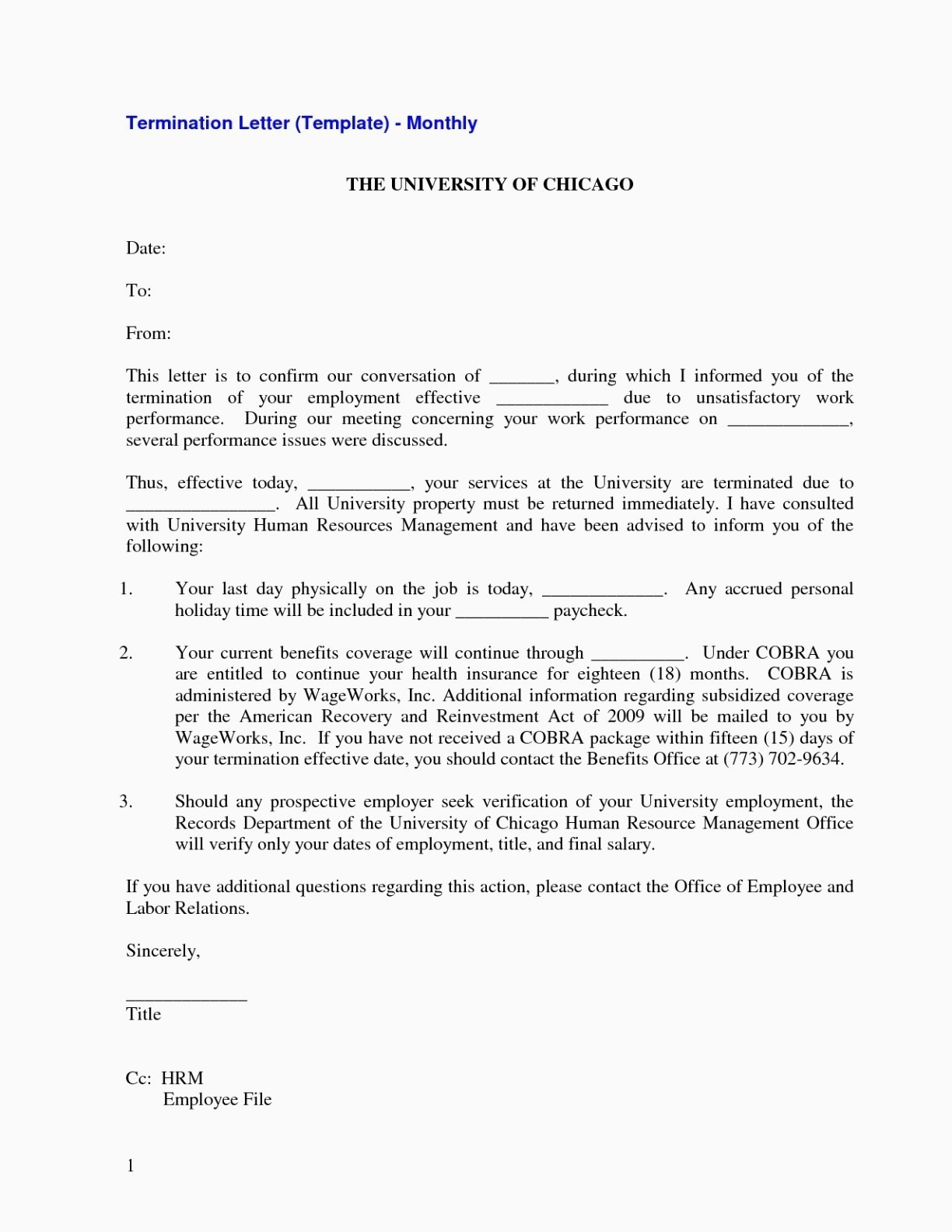 Employee Termination Letter Template Free - Termination Letter format without Notice Period New Job Termination
