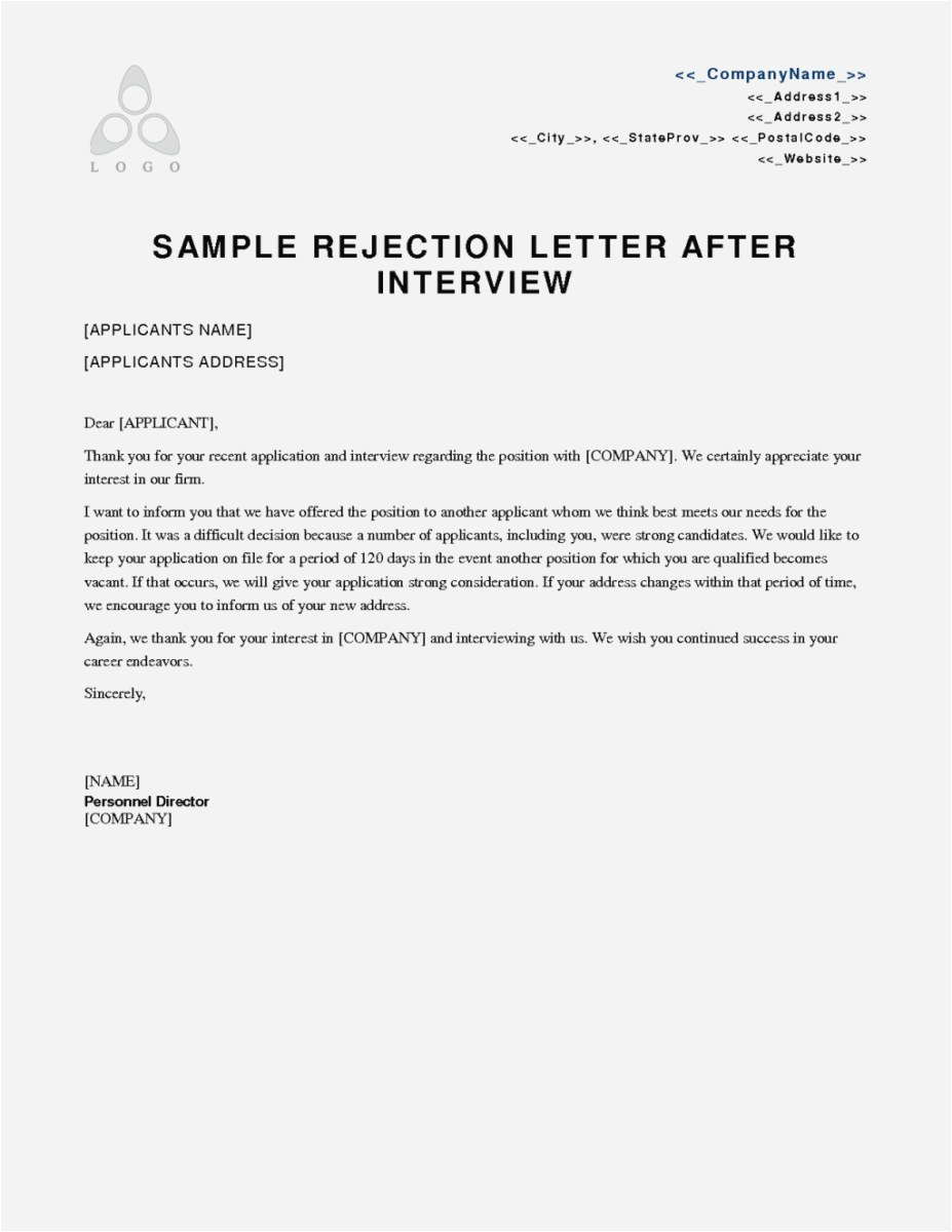 Rejection Letter Template after Interview - Thank You Letter after Rejection Free Internship Rejection Letter