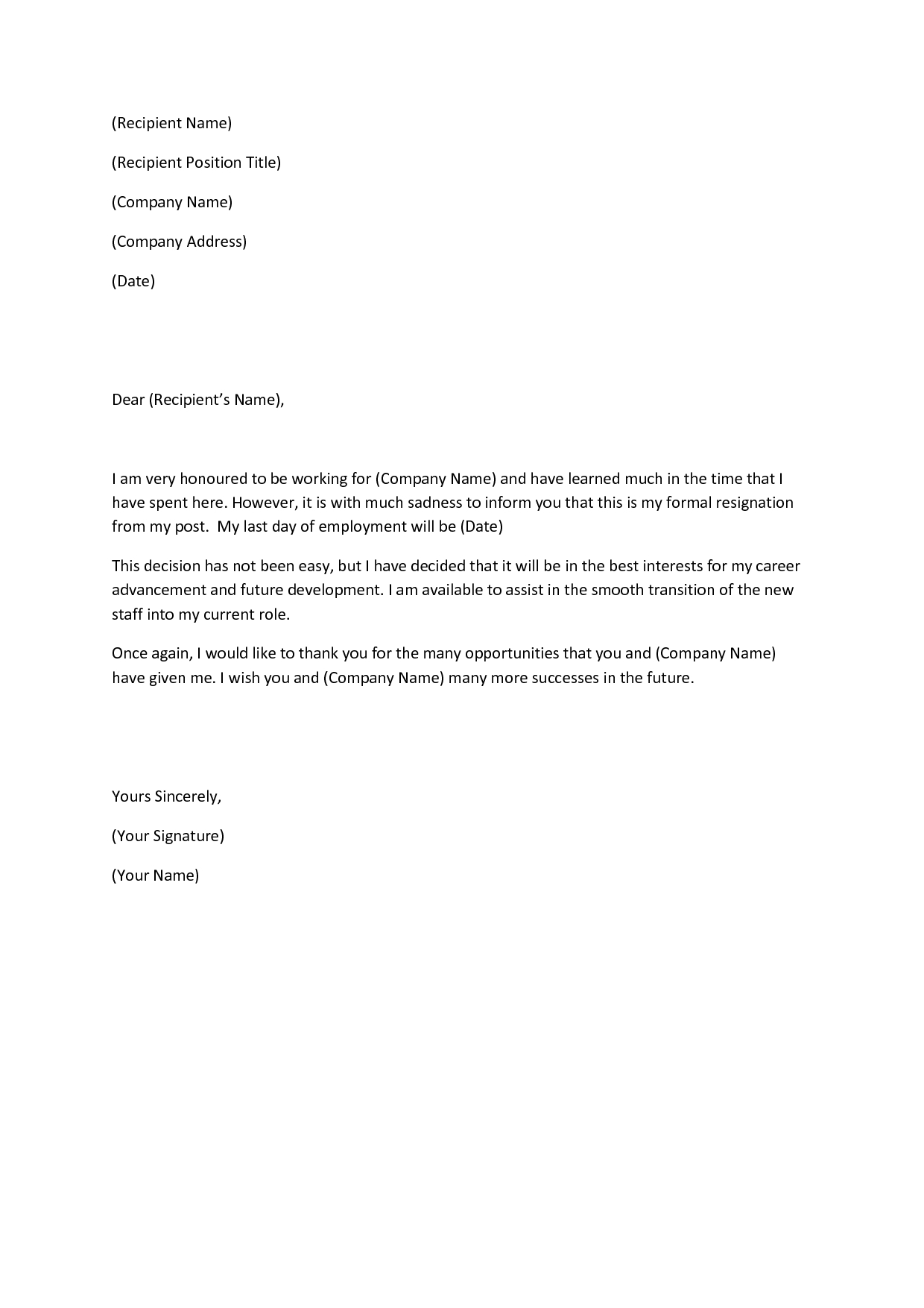 Company Business Reference Letter Template - This Article Will Include Multiple Sample Letters for Quitting A Job