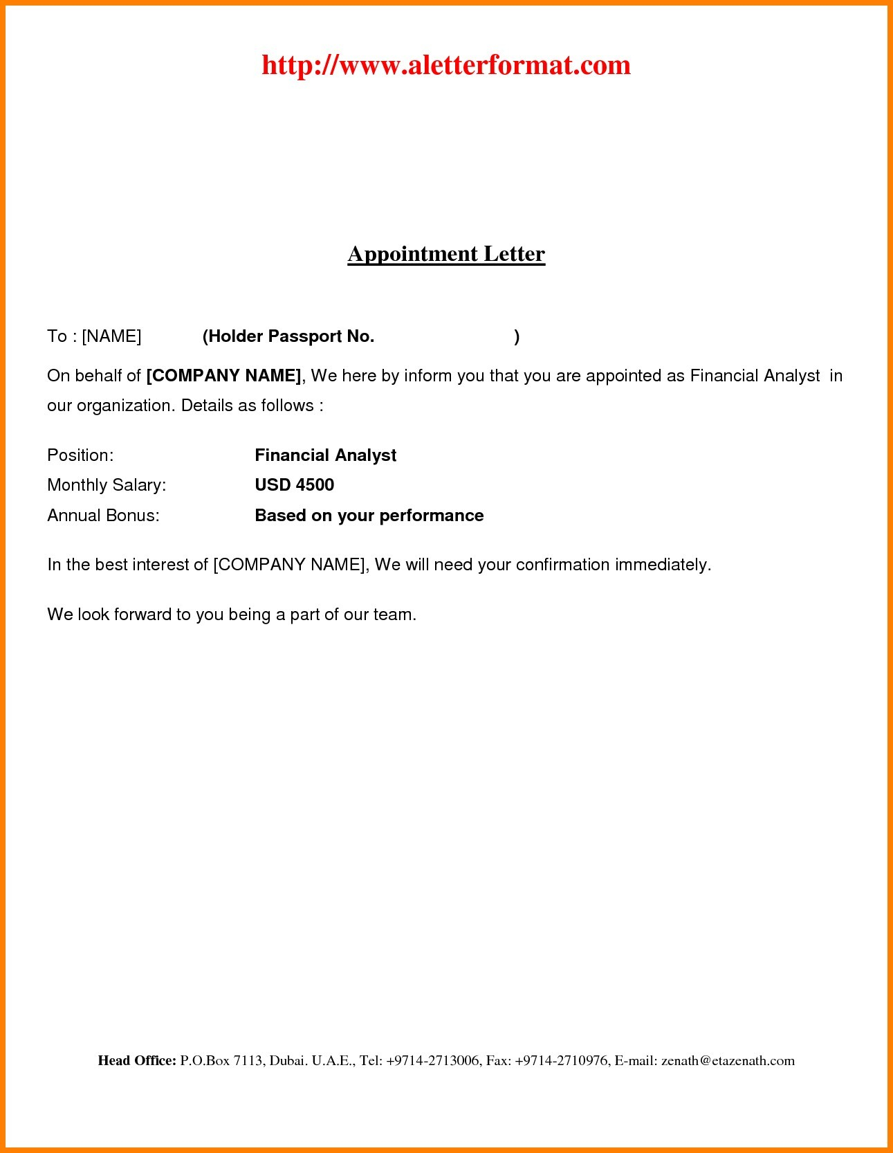 Employment Offer Letter Template Word - Unique Job Fer Letter Template Word